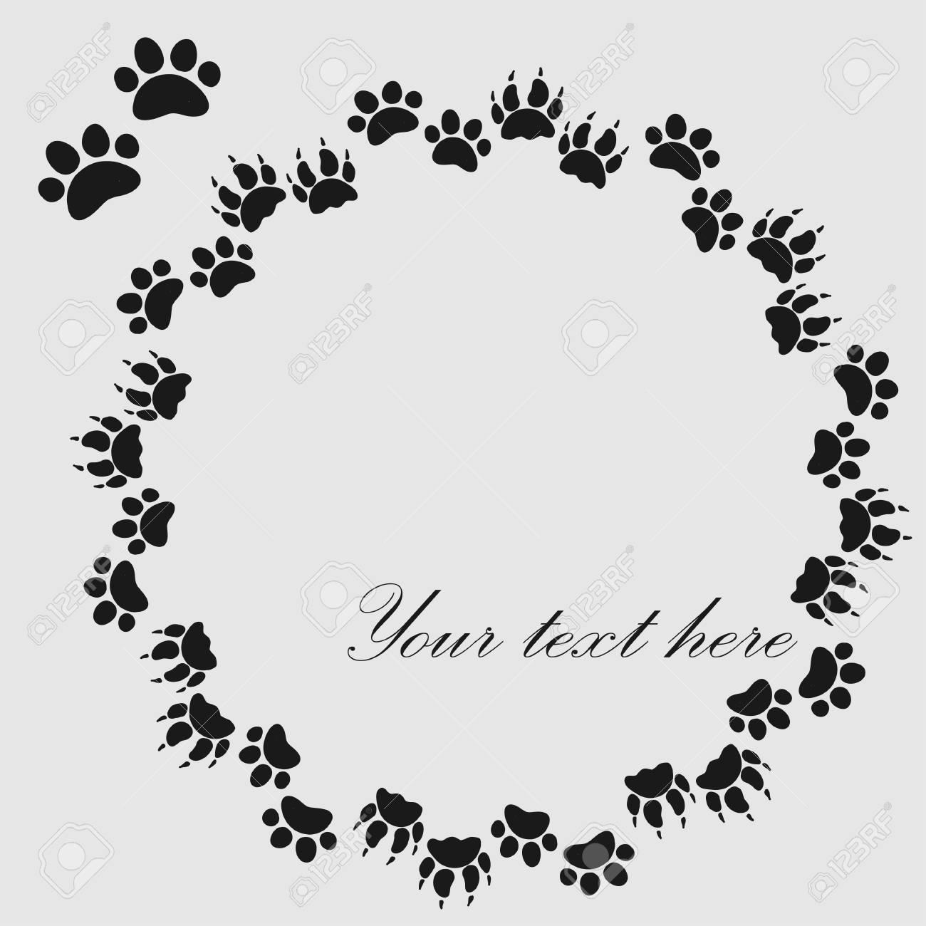 Katze Oder Hund Pfote Druckt Rahmen Für Ihren Text Hintergrund ...