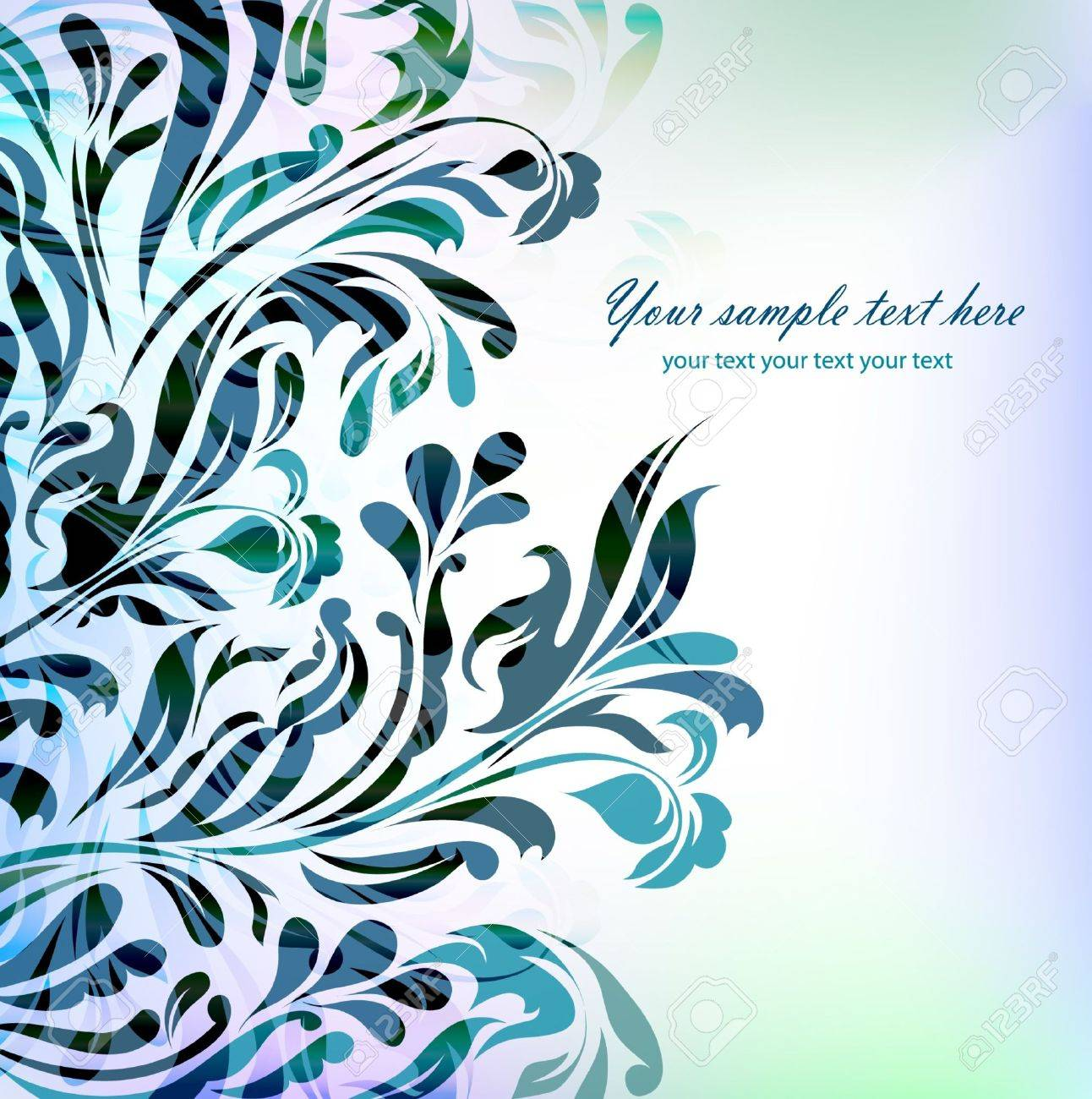 Abstract Blue Floral Background Mit Ihrem Text Für Ihre Karte ...