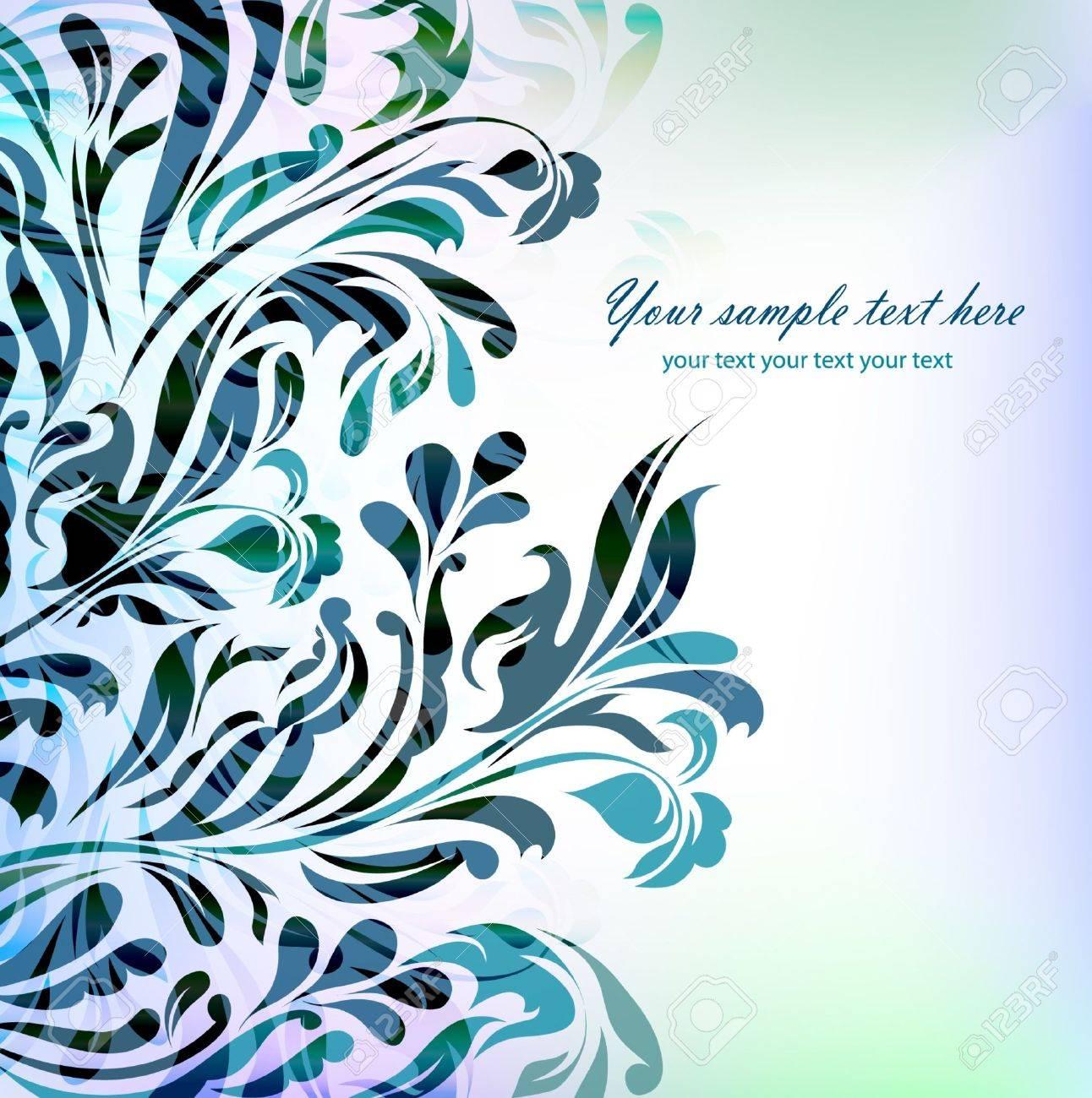 Fondo Floral Azul Abstracto Con El Texto De La Tarjeta Invitacion - Fondo-invitacion-boda