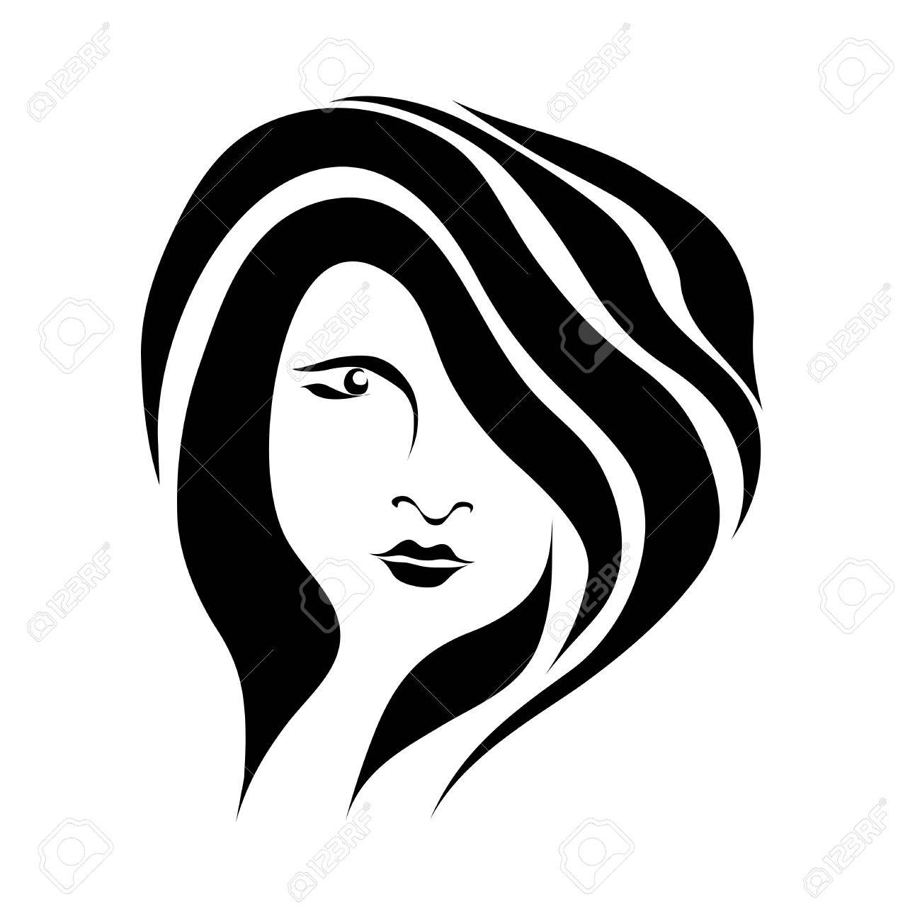 Free hand drawing abstract face of beautiful romantic girl isolated on white background Stock Vector - 14298504