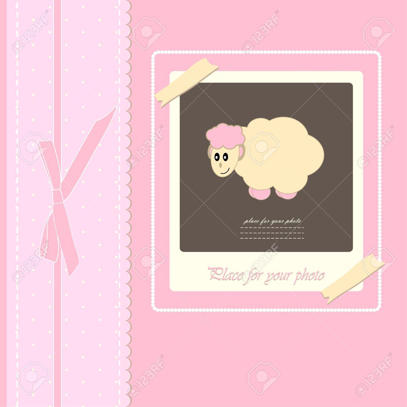 Baby Schöne Mädchen Karte Mit Ihrem Text Für Einladung, Gruß, Geburtstag,