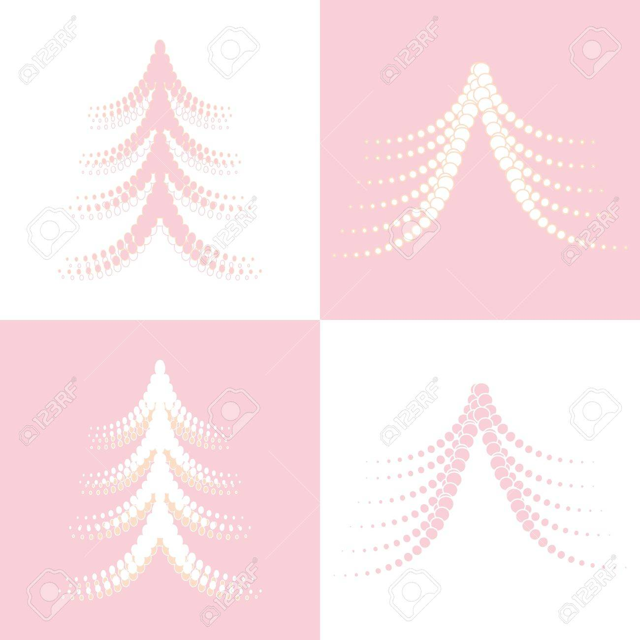Seamless of four Christmas trees on white and pink background Stock Vector - 14387890
