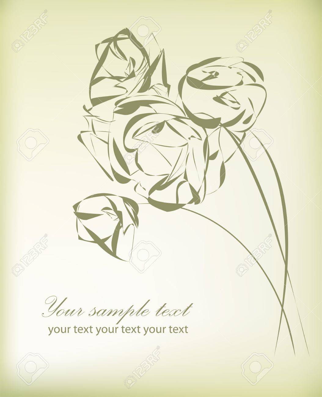 Hand drawing rose card Stock Vector - 14488563