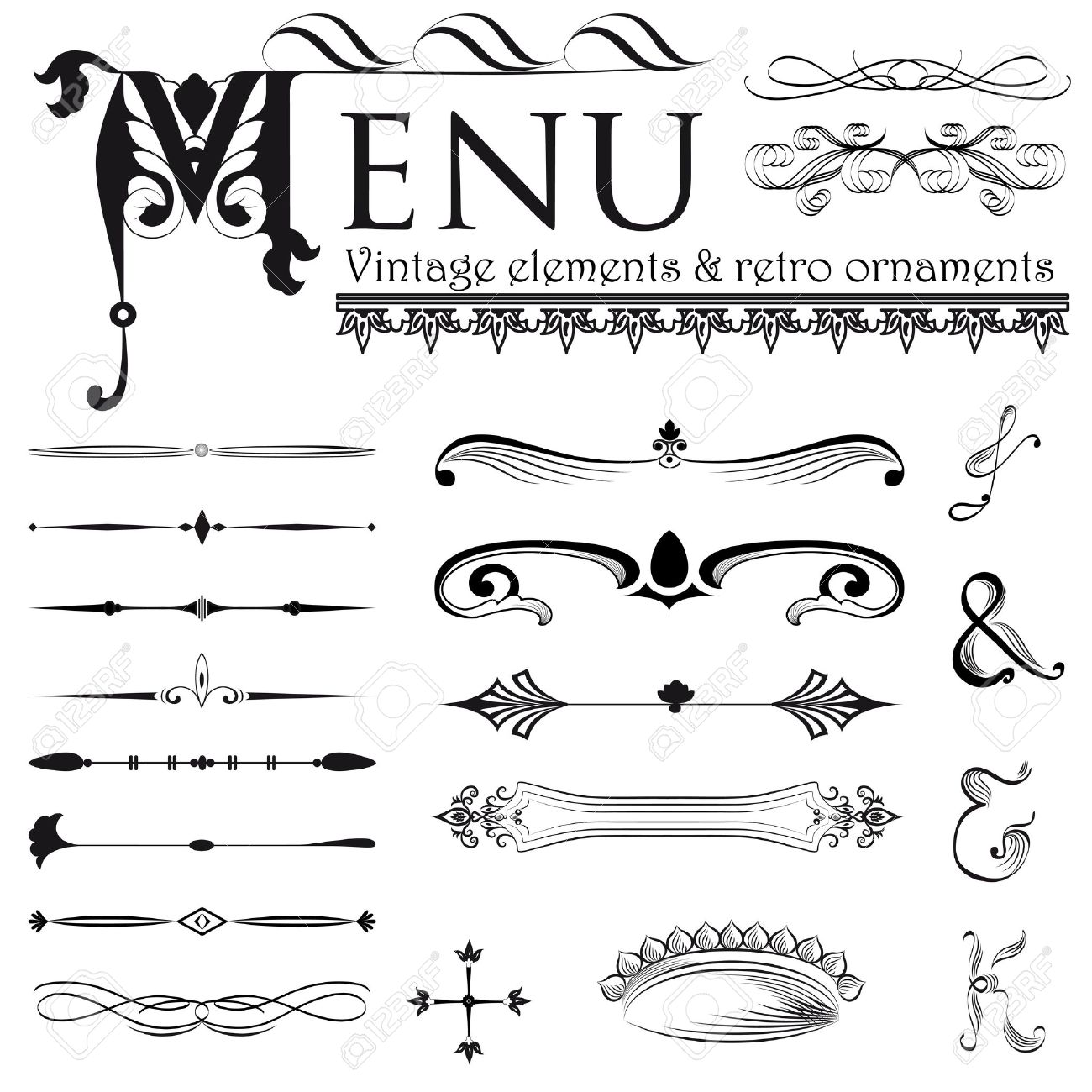 Set Of Retro Design Elements Royalty Free Cliparts, Vectors, And ...