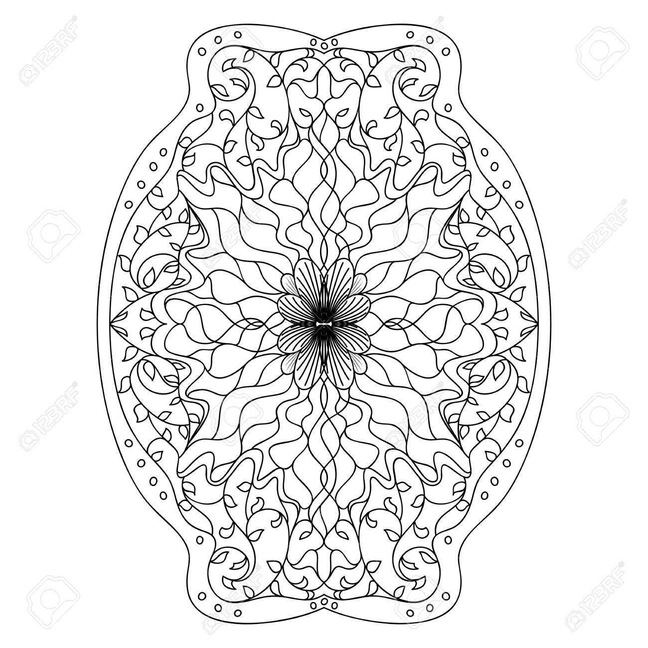 Monochrome black and white lace ornament Stock Vector - 16313239