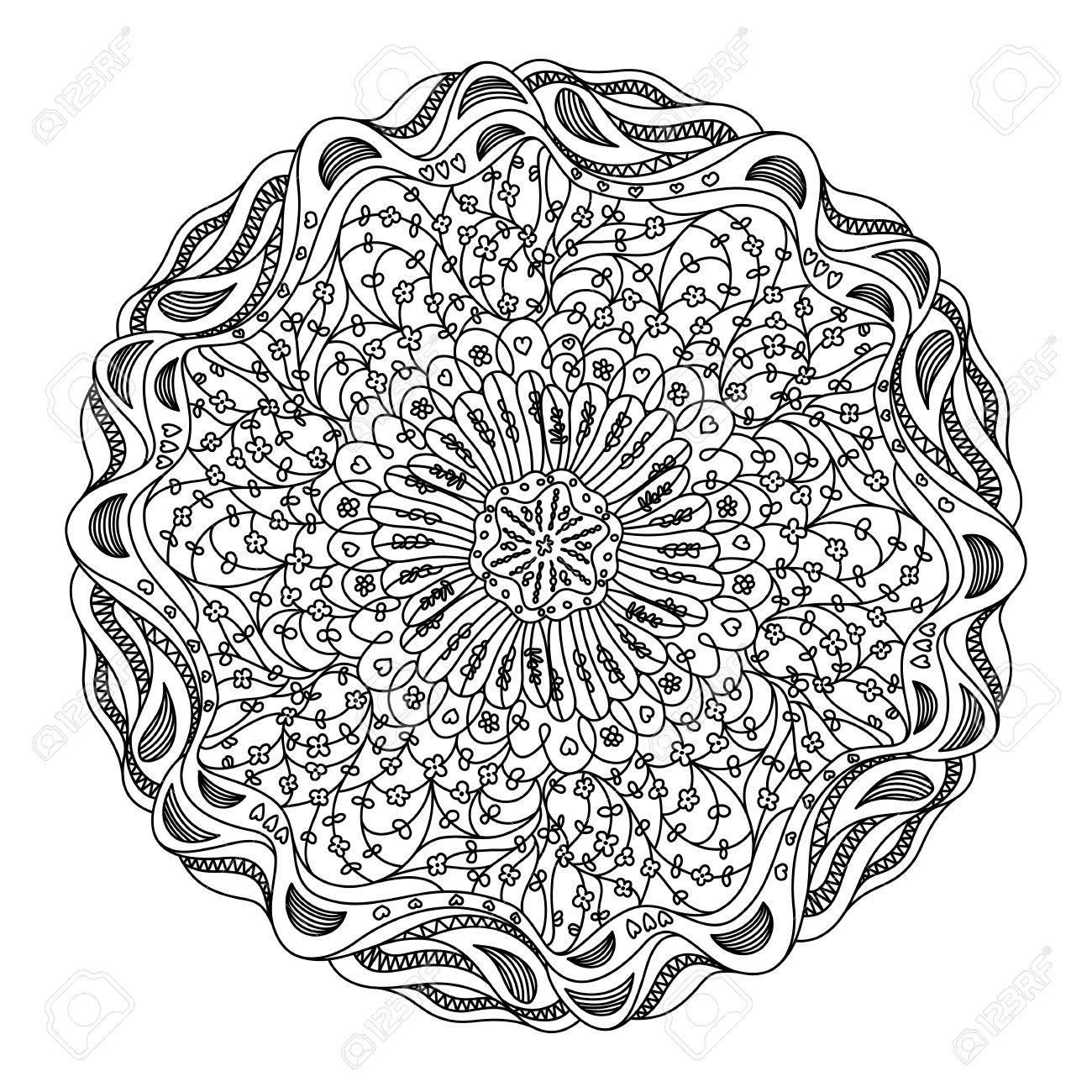 Monochrome black and white lace ornament Stock Vector - 16313249