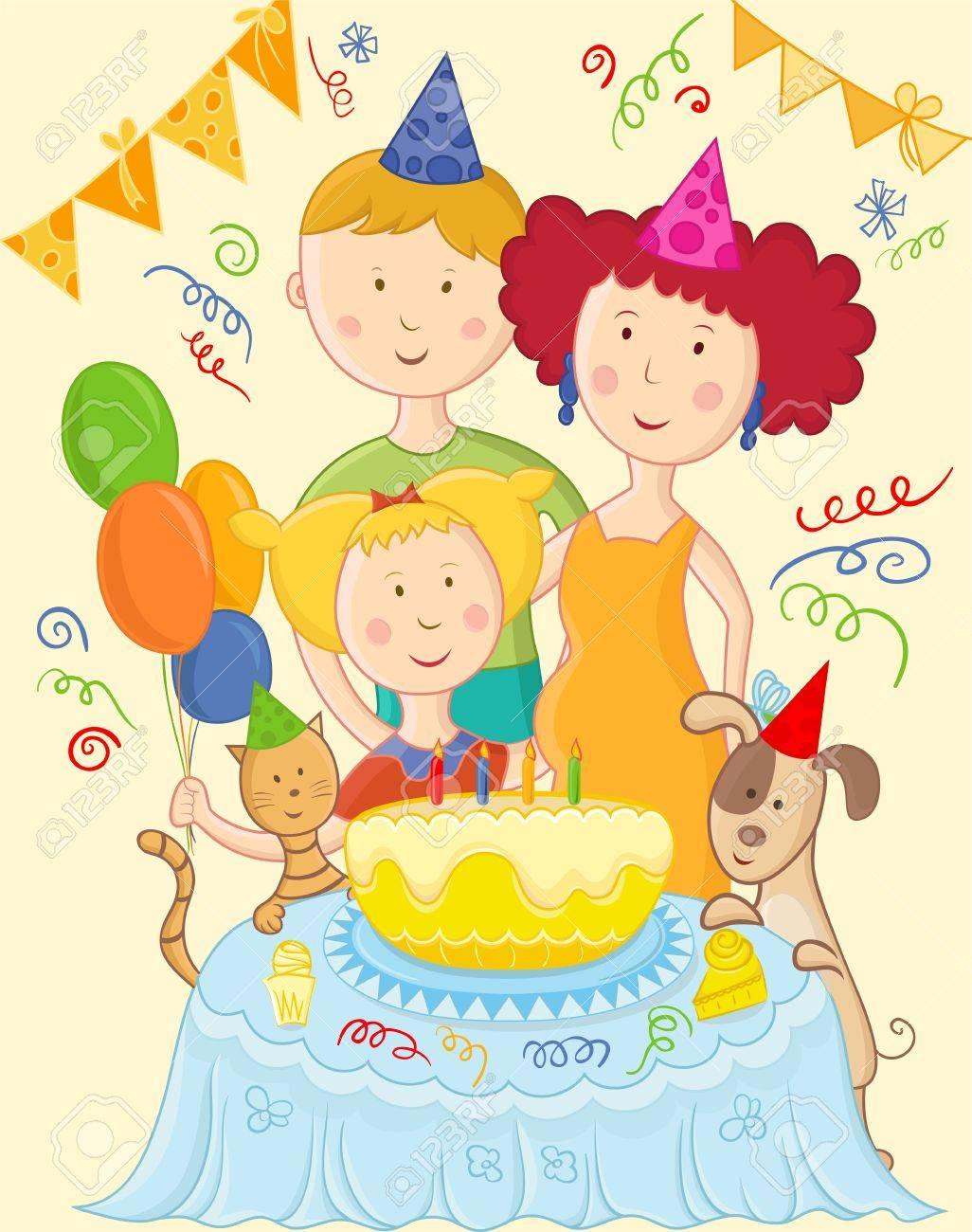 Happy family celebrate birthday card Stock Vector - 16313280