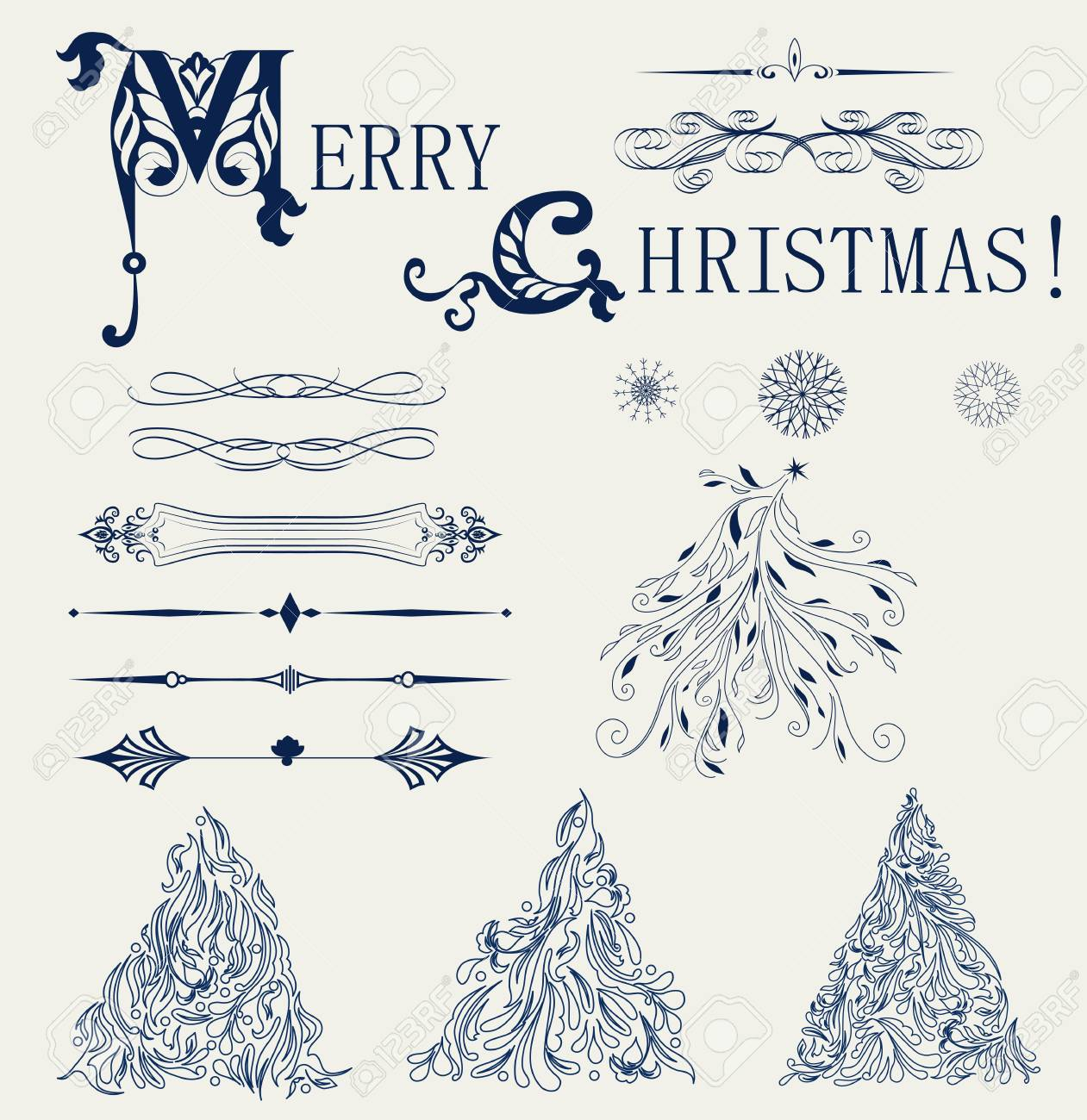 Set of element design for new year card Stock Vector - 18085417