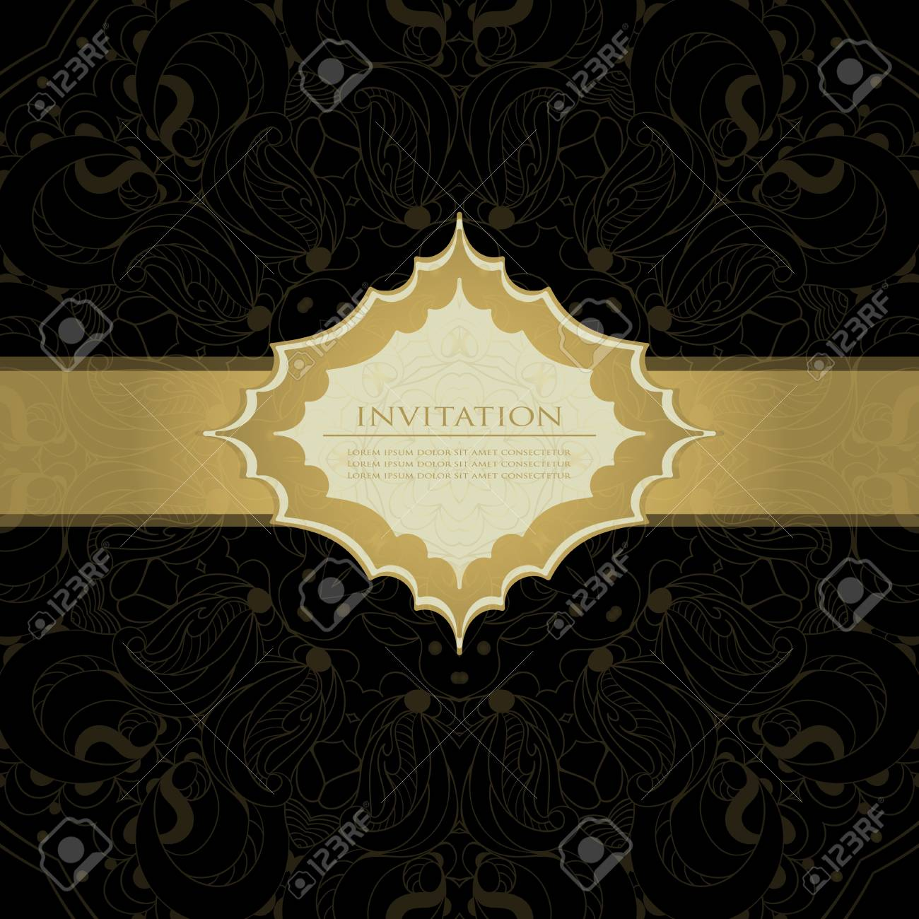 Gold card with lace Stock Vector - 21159946