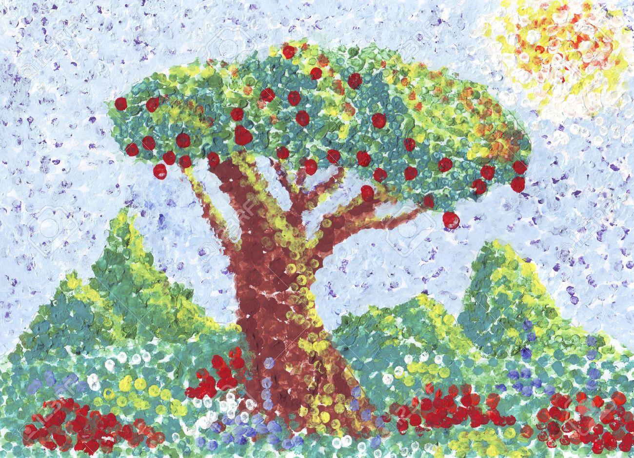 Apple Tree Painting In Pointilism Style Banco De Imagens Royalty Free Ilustracoes Imagens E Banco De Imagens Image 6184914