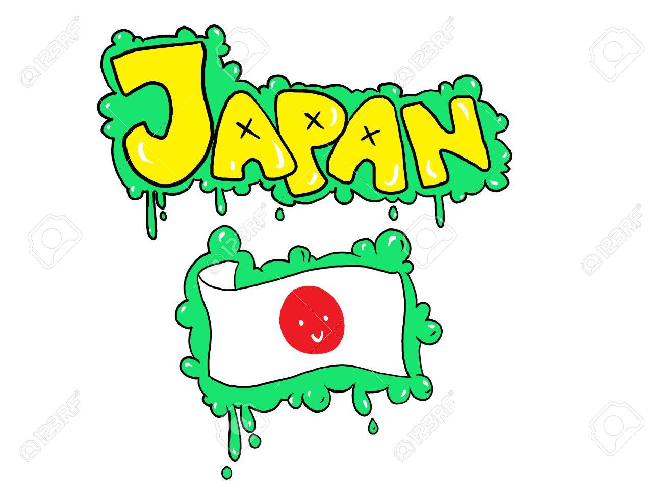 Graffiti Like Drawing Of Japan S Flag Stock Photo Picture And