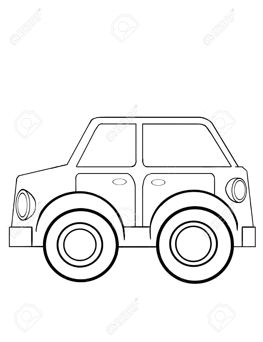 Contour Drawing Of The Toy Car For Coloring Stock Photo, Picture And ...