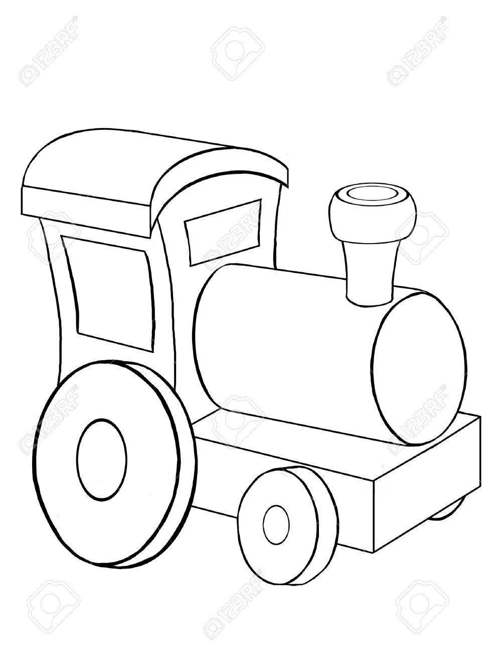 Contour Dibujo Del Pequeño Tren De Juguete Fotos, Retratos, Imágenes ...