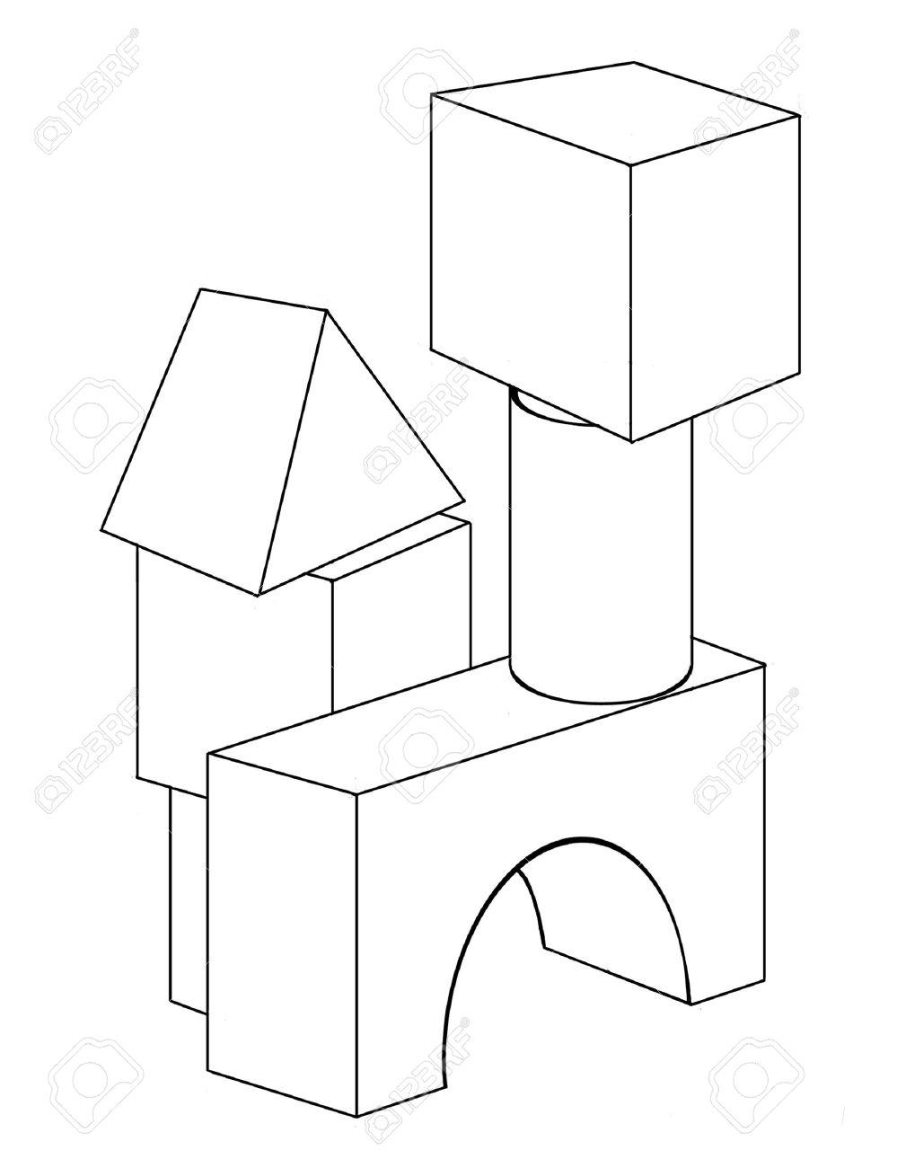 banque dimages dessin de contour des blocs de jouet pour la coloration
