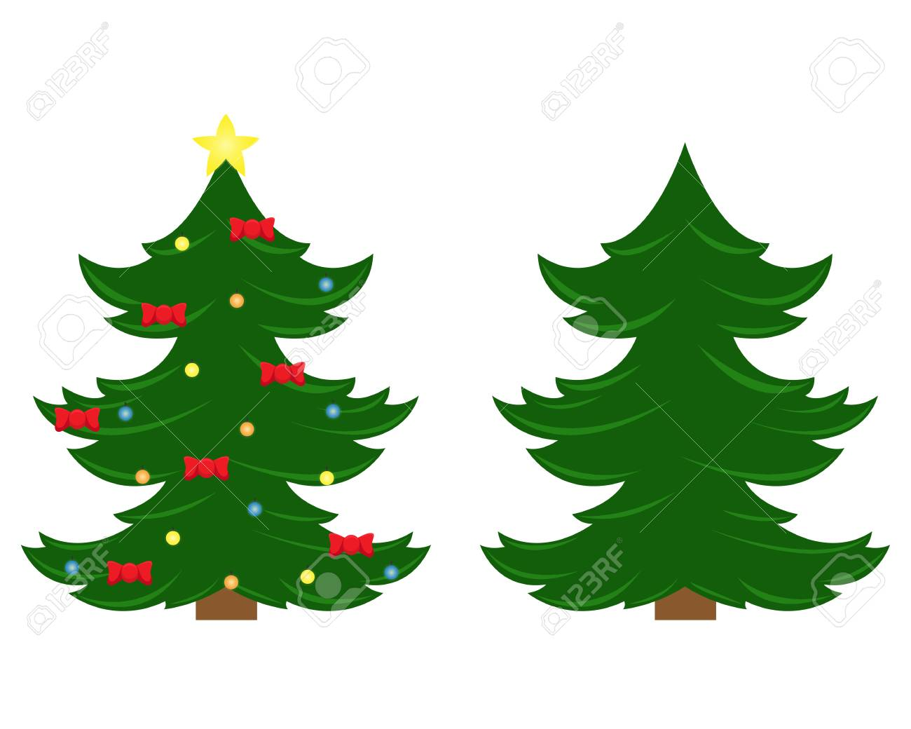 Vector Christmas Tree.Two Vector Christmas Trees Christmas Tree Before Decorating