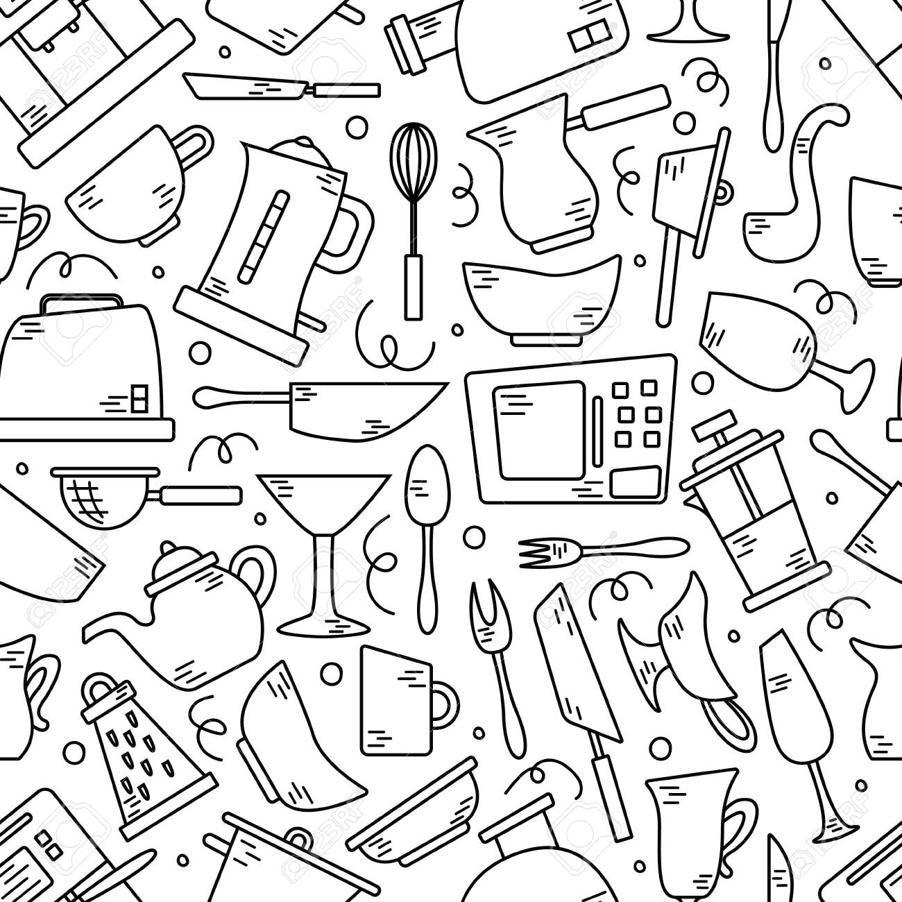 Seamless pattern with kitchen appliances in lines. Background for design. Cooking - 121997863