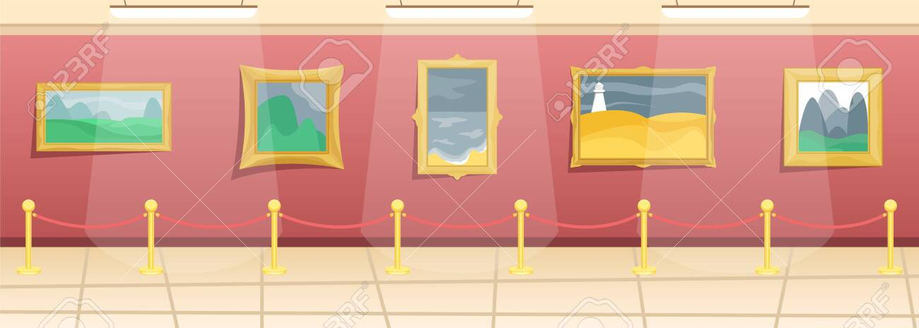 Fine arts museum. Hall with paintings in gilded baguettes, fenced from visitors. Classical art. Flat vector illustration. - 128943111