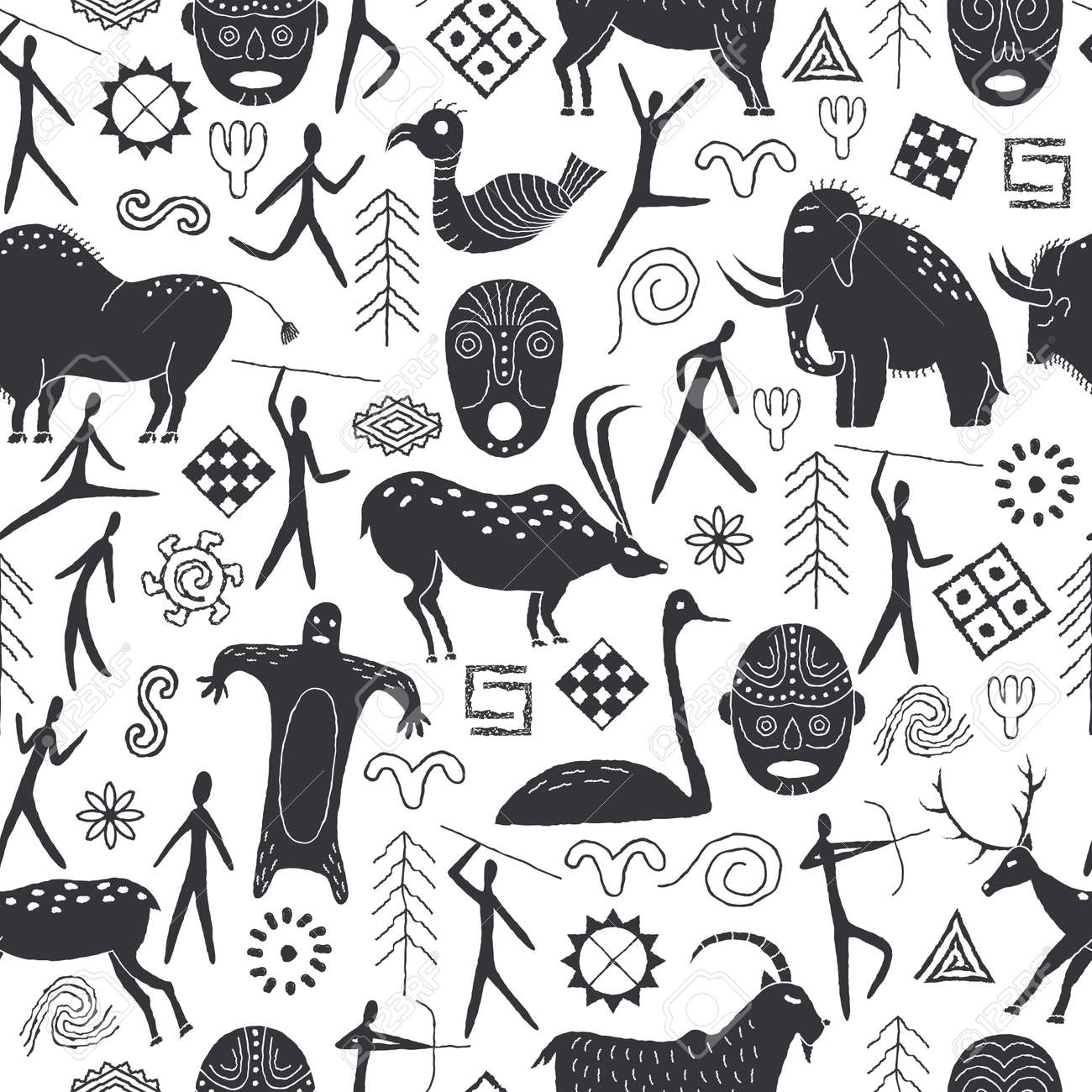 Seamless pattern with decorative elements and man from rock art. Prehistoric drawings Outline. - 168550142