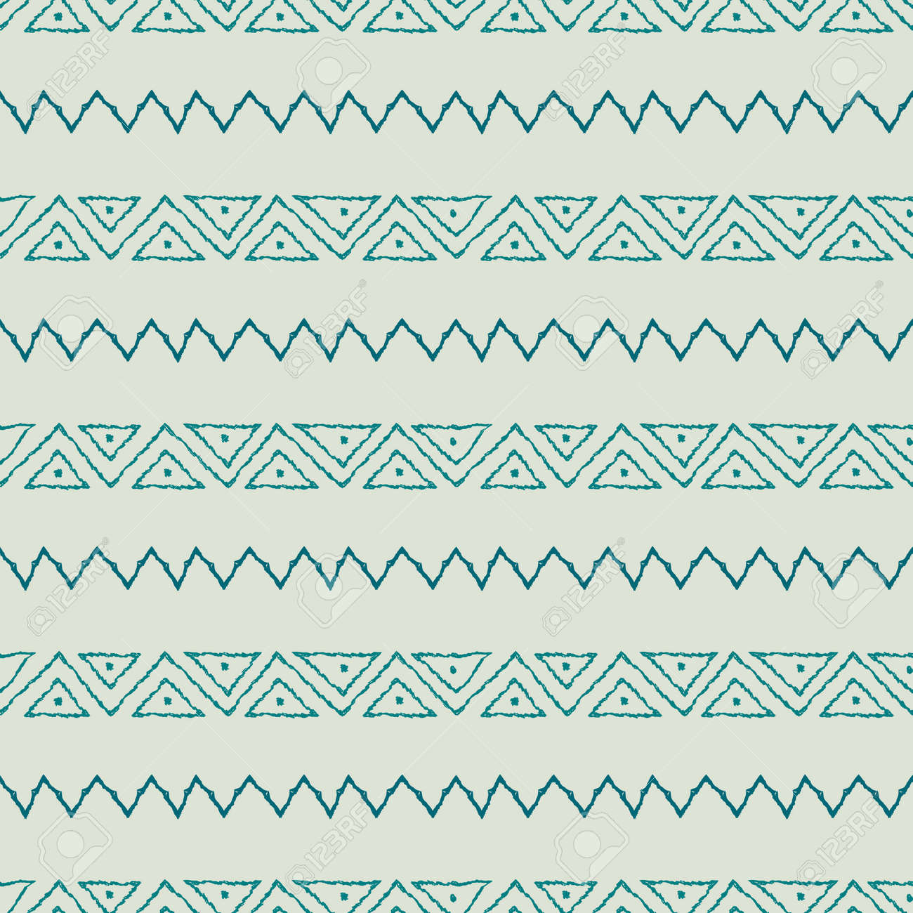 Seamless pattern with geometric elements in tribal style. Prehistoric drawings. - 168550204