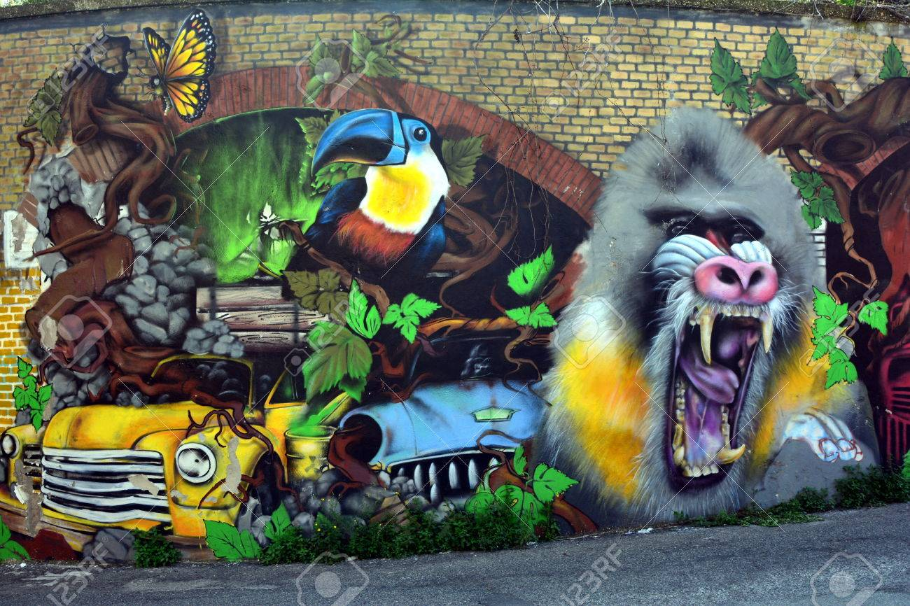 Stock photo street art and graffiti in rome casilina district italy