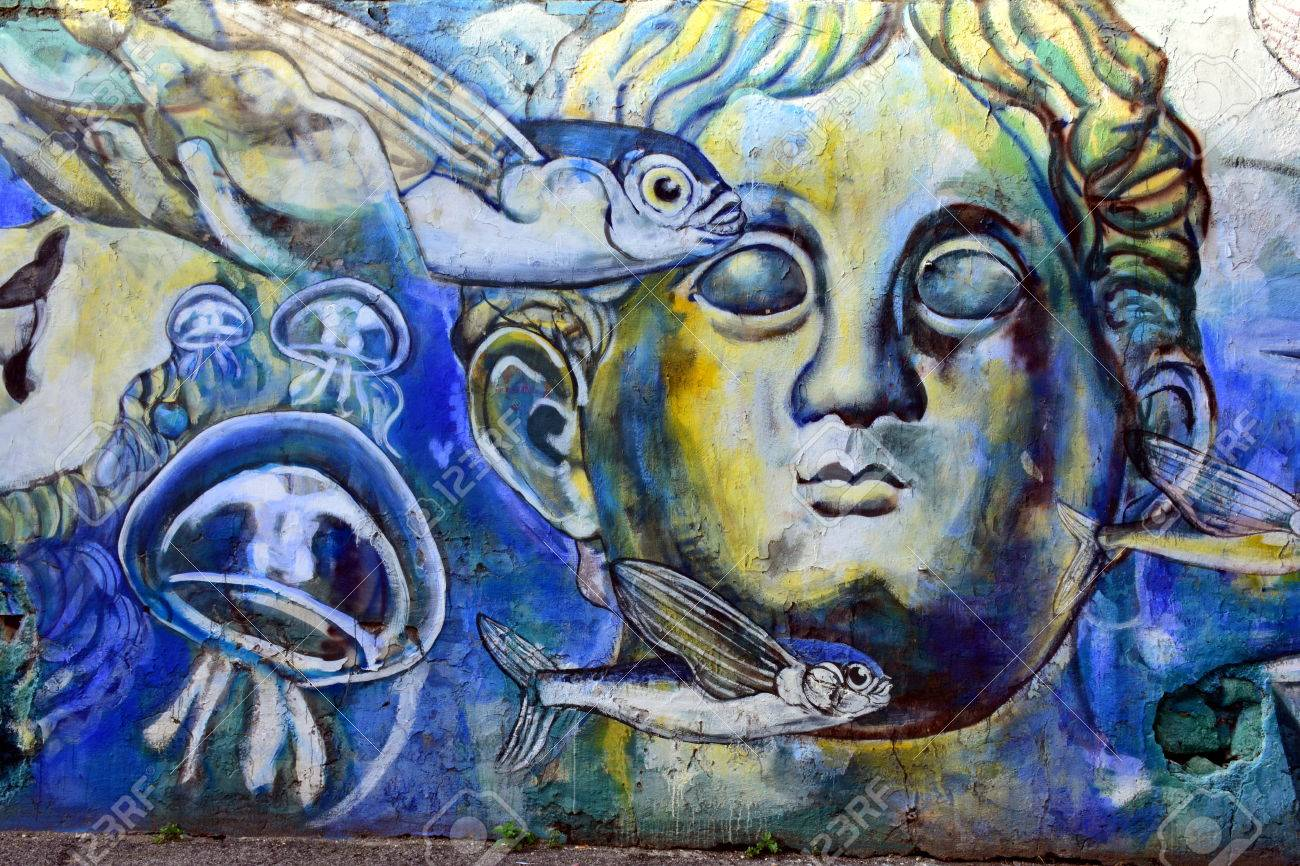 Stock photo street art and graffiti in rome ostiense district italy
