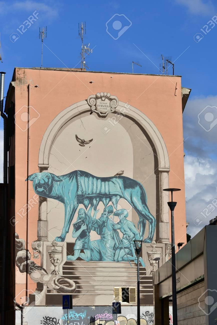 Stock photo street art and graffiti in rome pigneto district italy