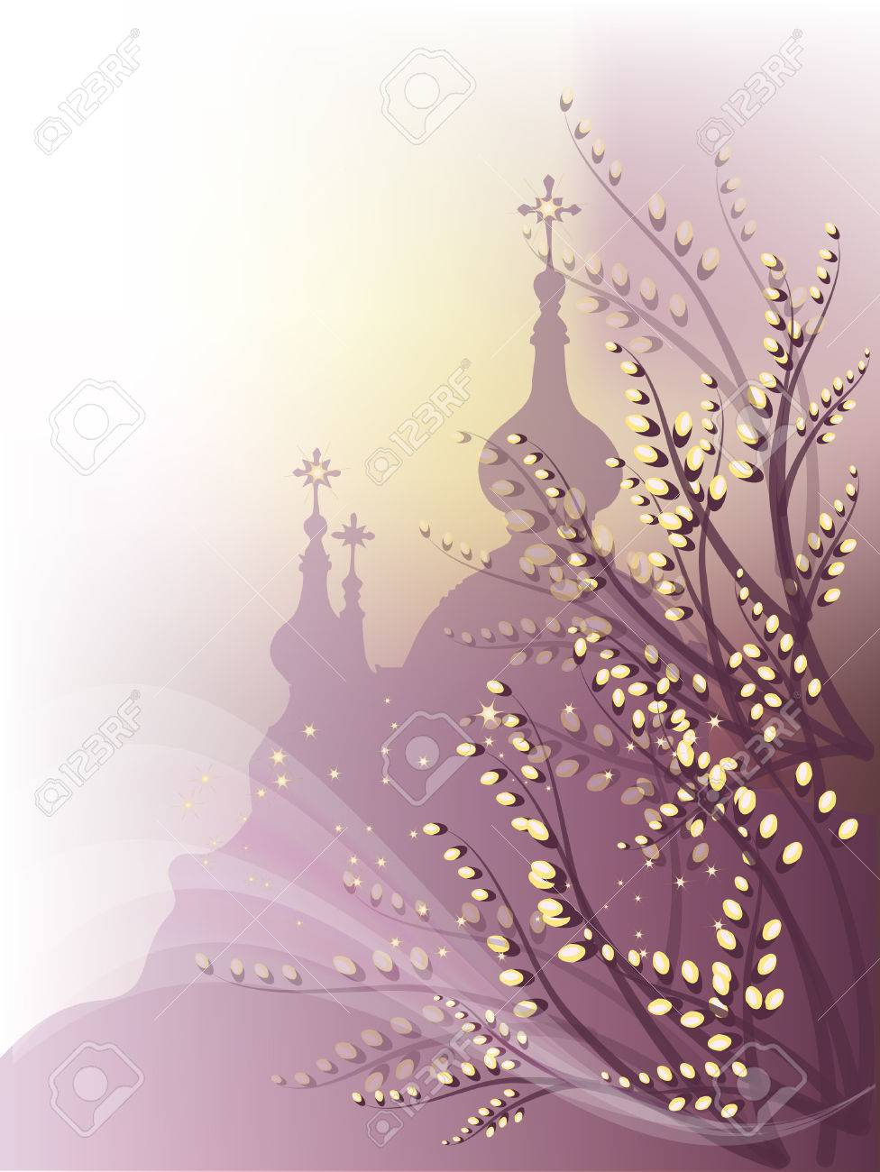 Spring background with pussy-willow and orthodox churches outline. Stock Vector - 8524379