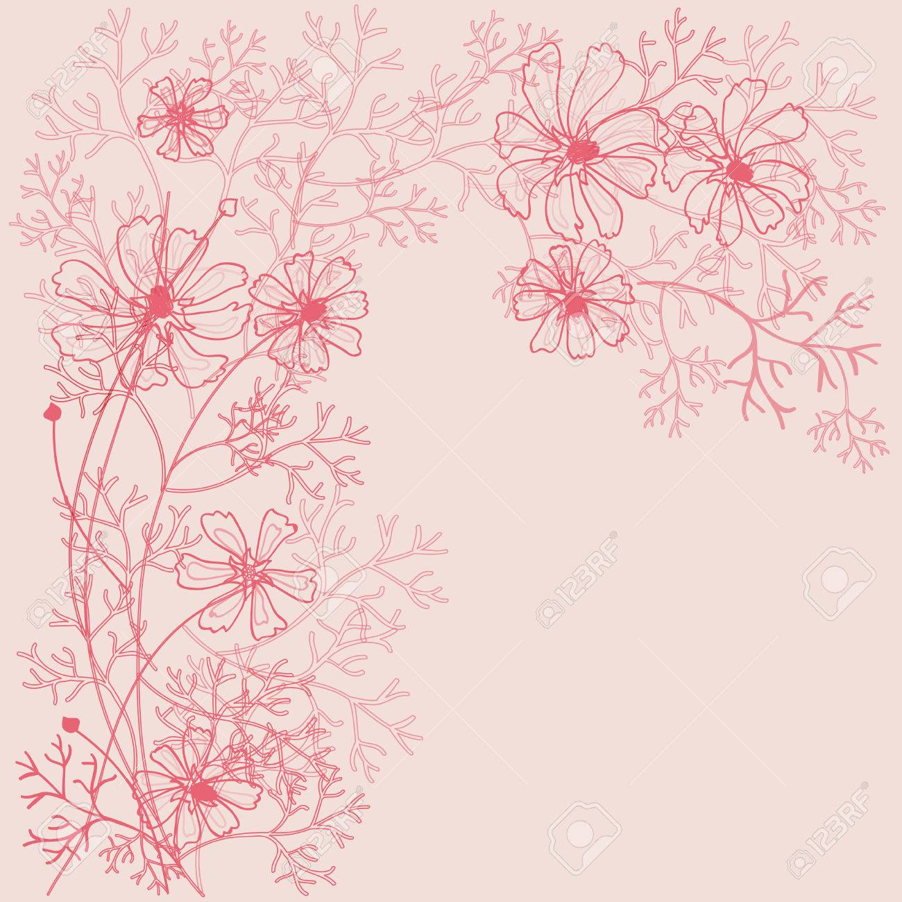 Beautiful decorative background with flowers outlines. Stock Vector - 8547253