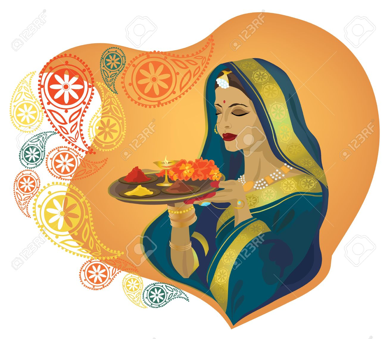 Beautiful Indian girl in traditional clothes. Stock Vector - 9210526