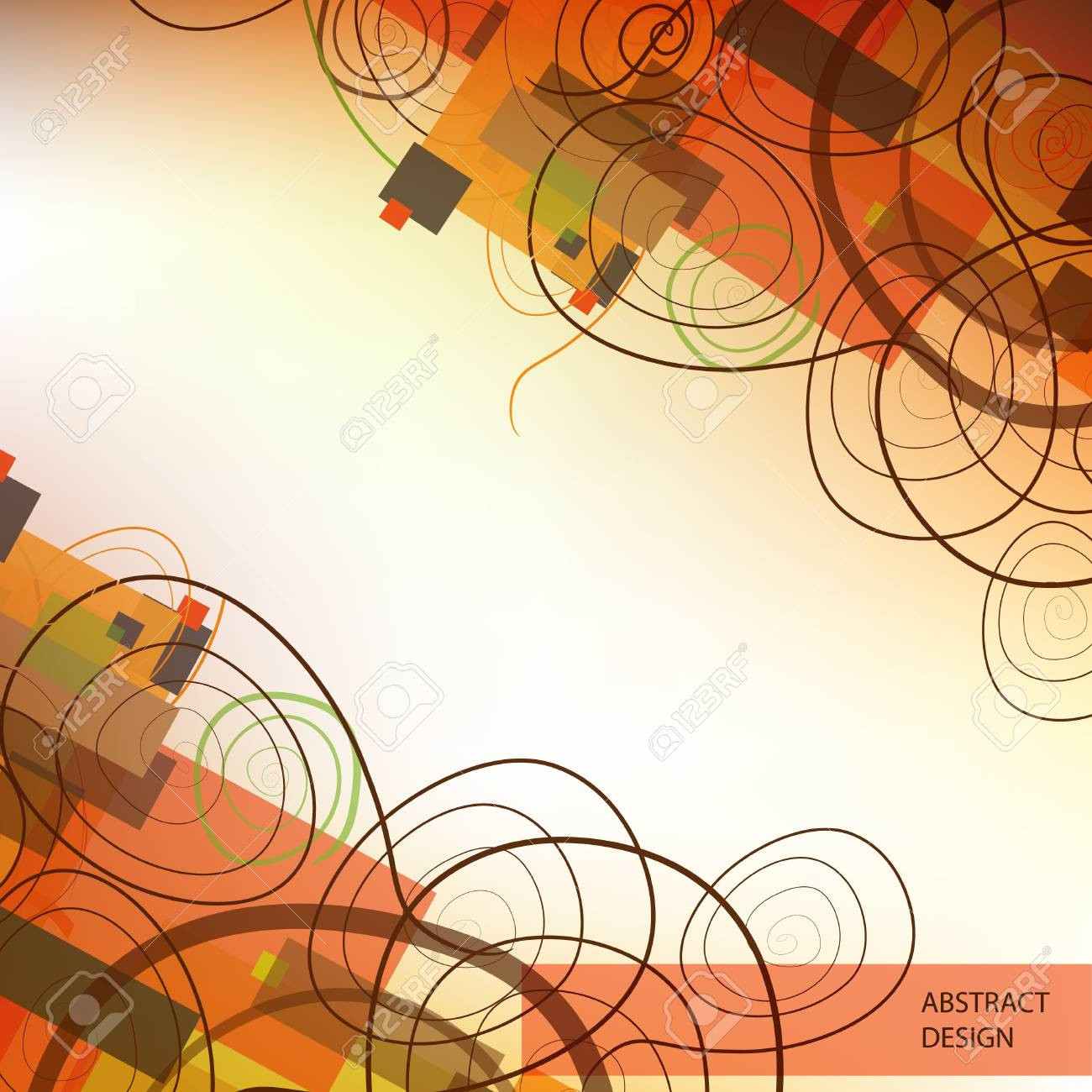 Abstract background with swirls and colorful rectangles. Stock Vector - 9623860