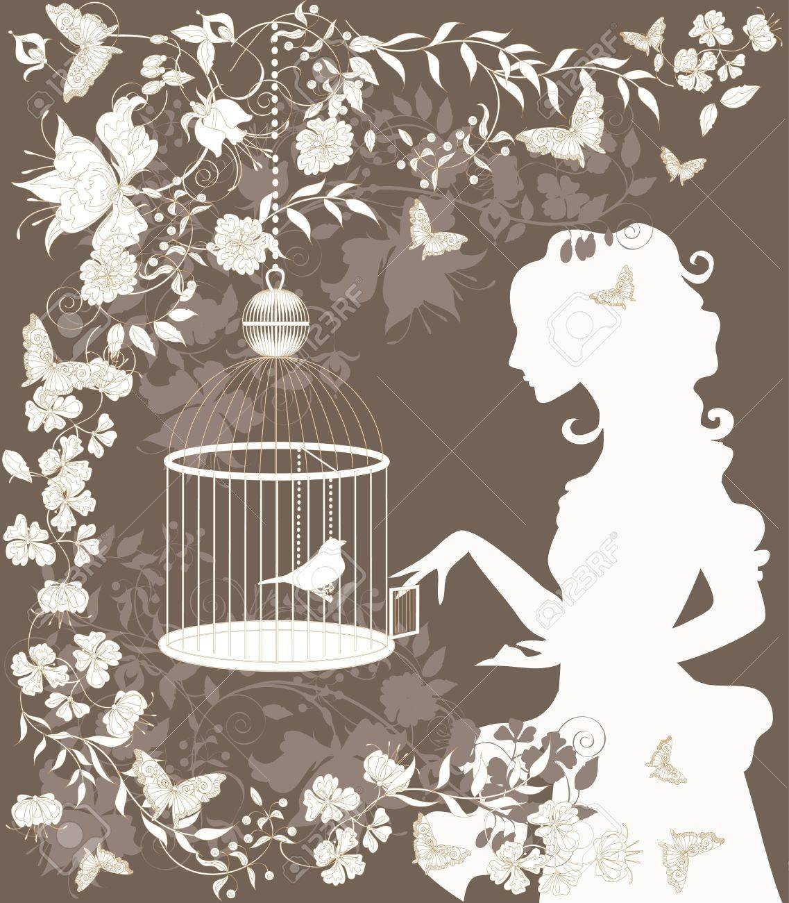 Vintage background with flowers, bird and girl silhouette. Stock Vector - 9711556
