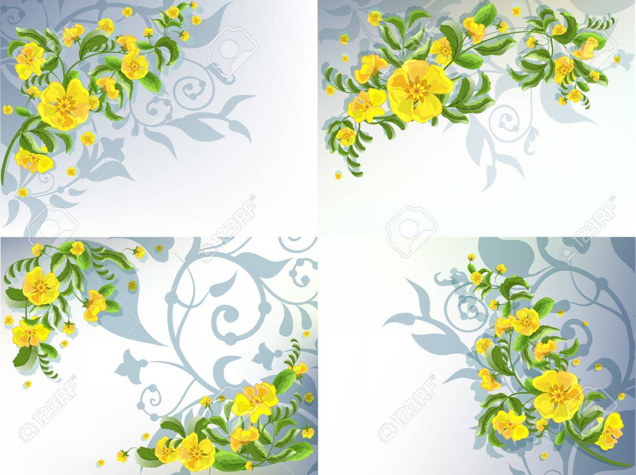 Set of 4 decorative backgrounds with yellow flowers patterns set of 4 decorative backgrounds with yellow flowers patterns stock vector 9929490 mightylinksfo