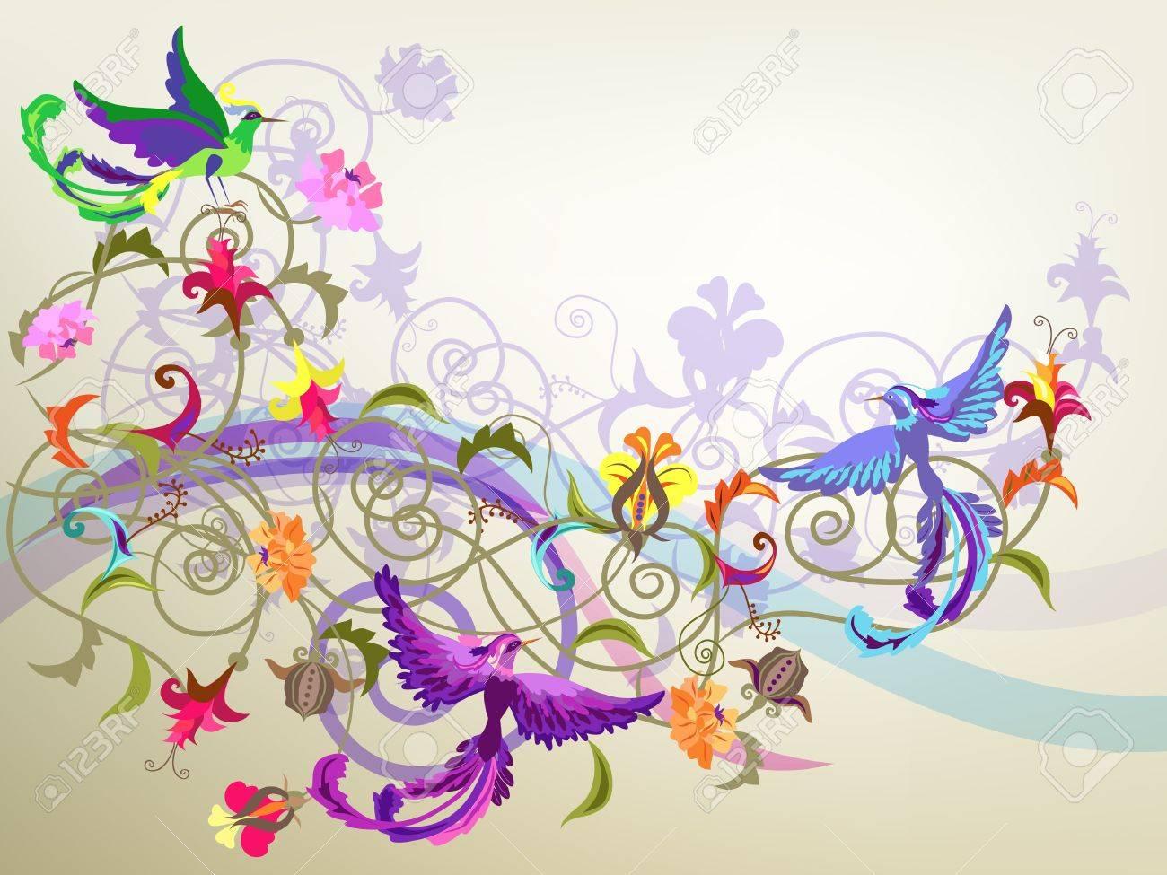 Fleurs Stylisées décoratifs fond coloré avec des fleurs stylisées et motifs d'oiseaux