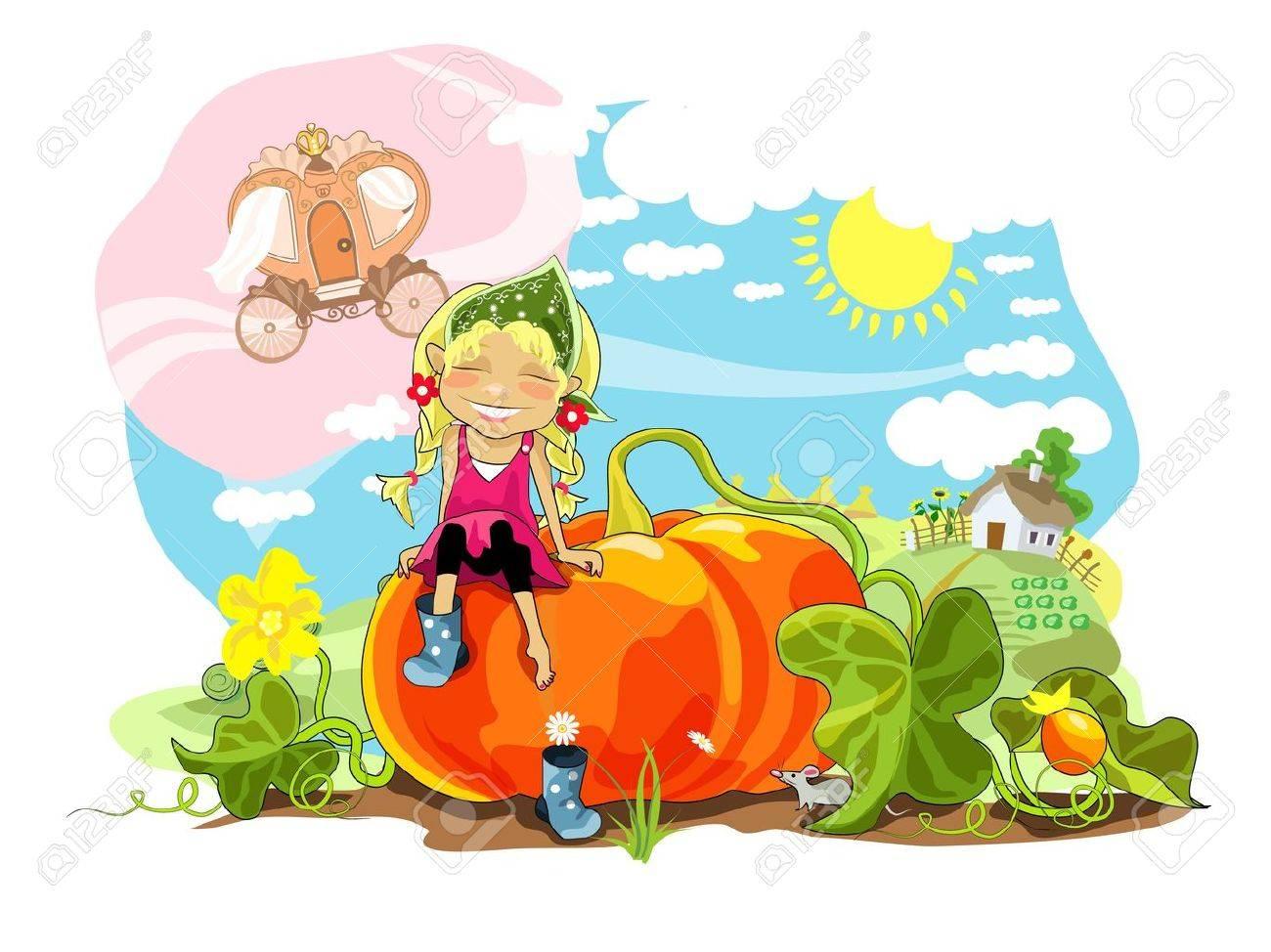 Funny girl sitting on big pumpkin, rural landscape. Stock Vector - 10289518
