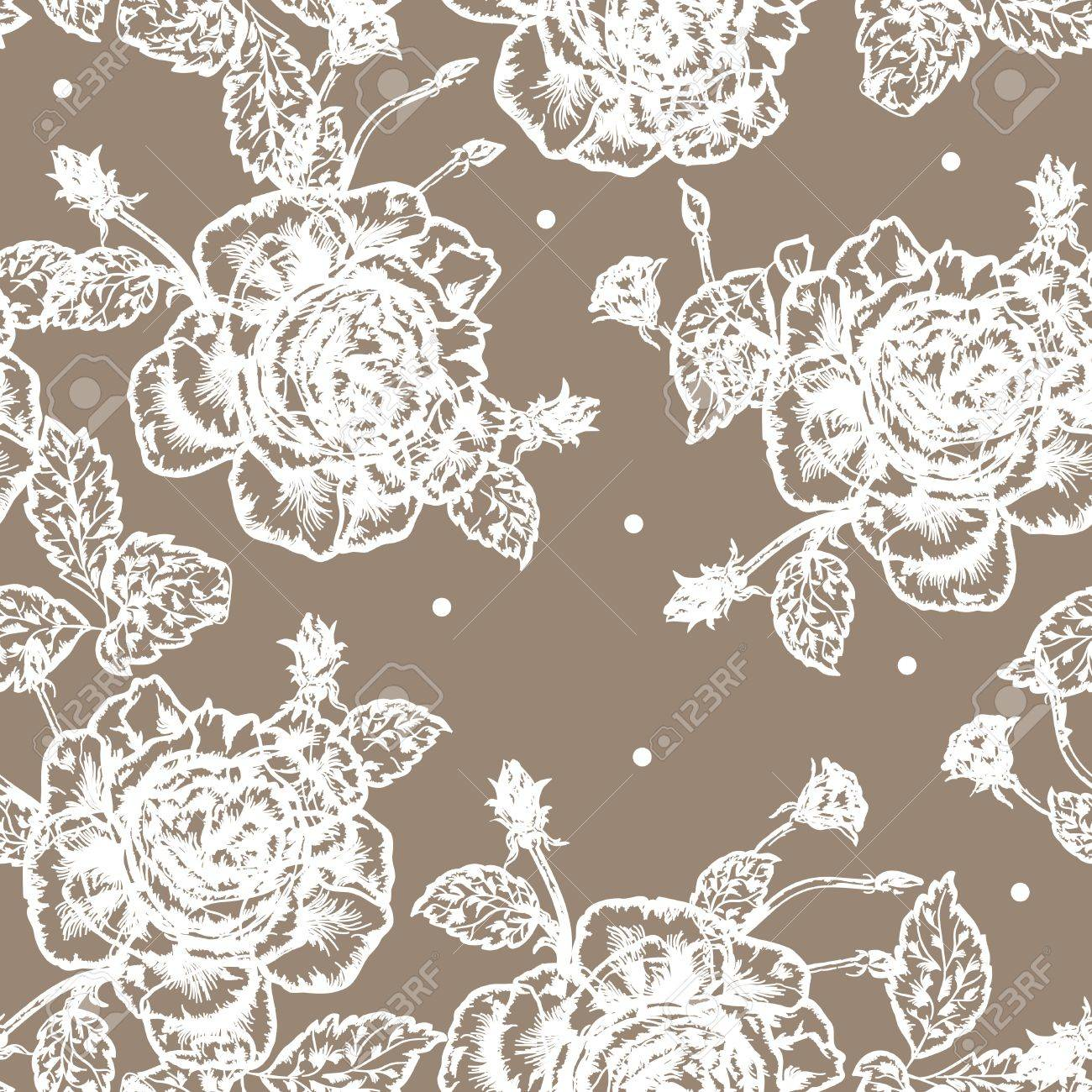 Beautiful vintage styled seamless background with white rose pattern. Stock Vector - 10289528