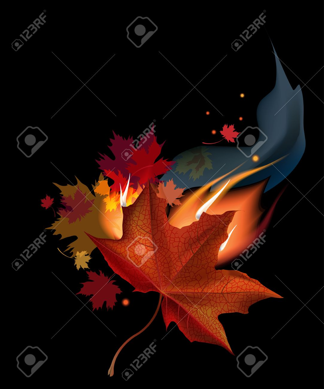 Autumn Maple Leaf in Fire
