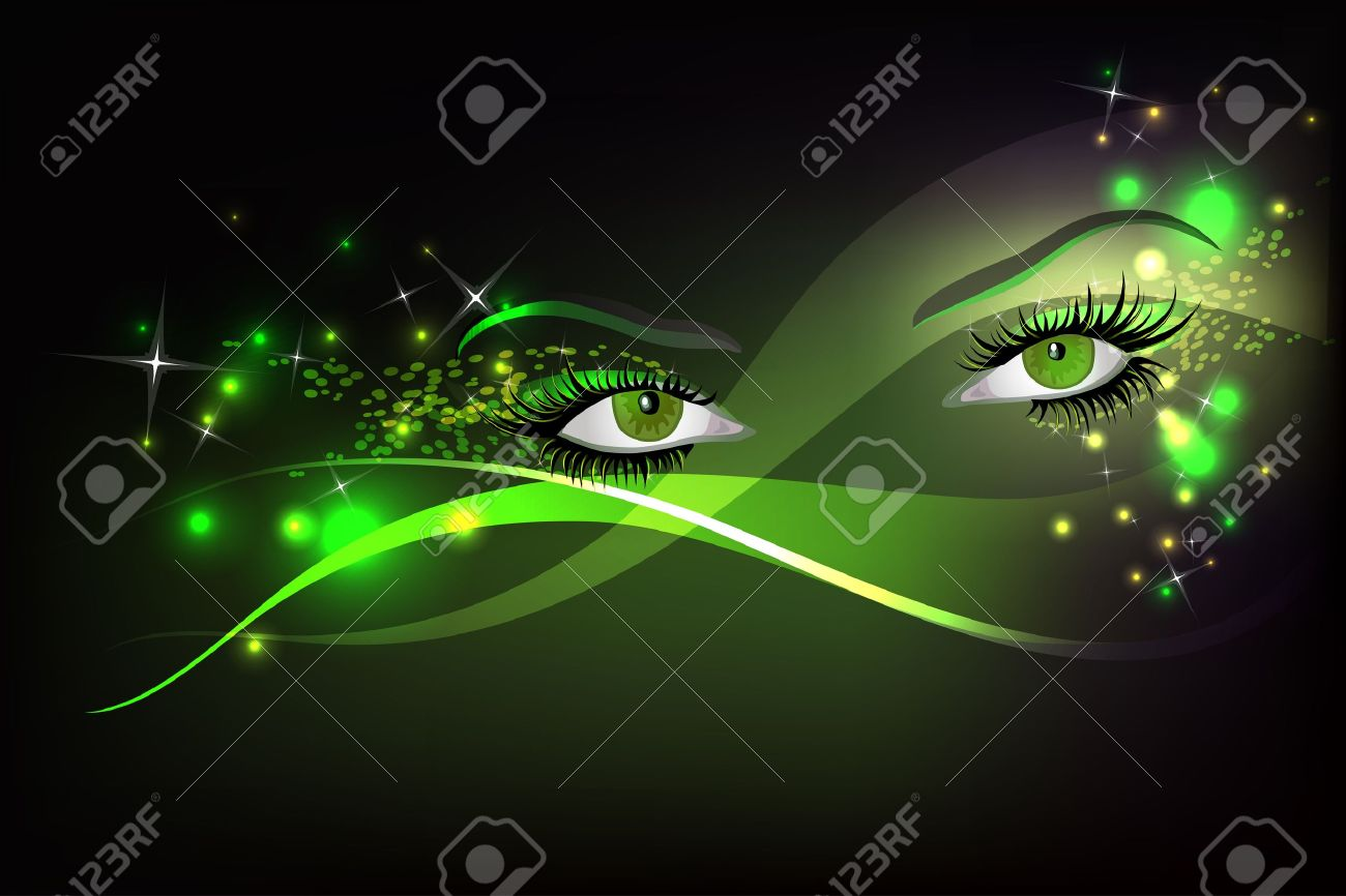 Dark background with beautiful green glamour shining sparked eyes. Stock Vector - 11910372