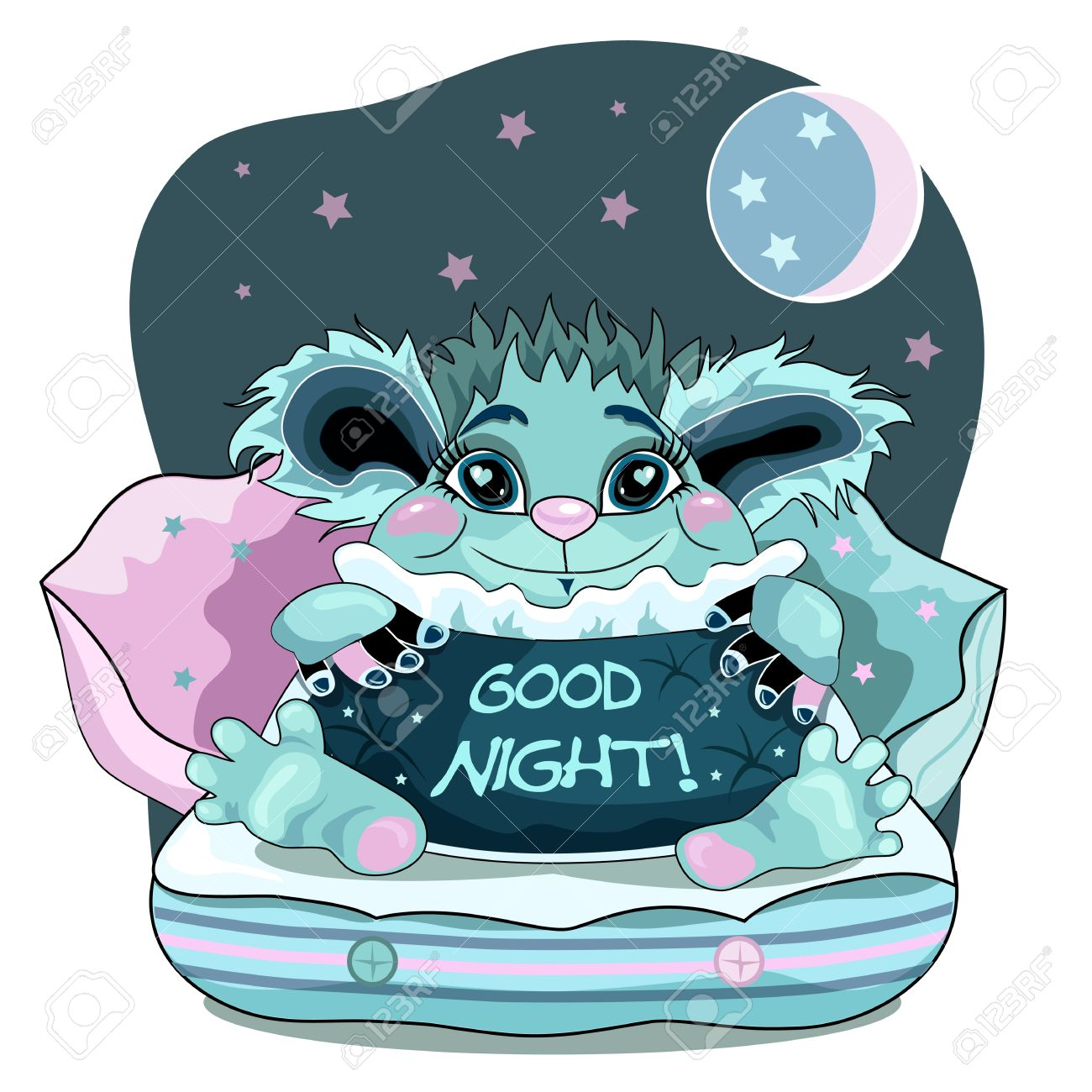 Cute good night background with blue friendly monster. Stock Vector - 12825487