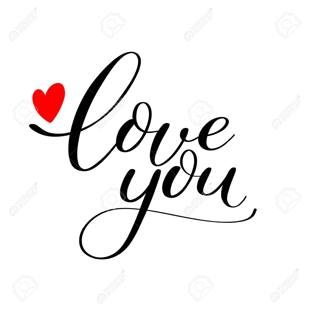 Simple Love you text with red heart, Calligraphic love lettering - 93872585