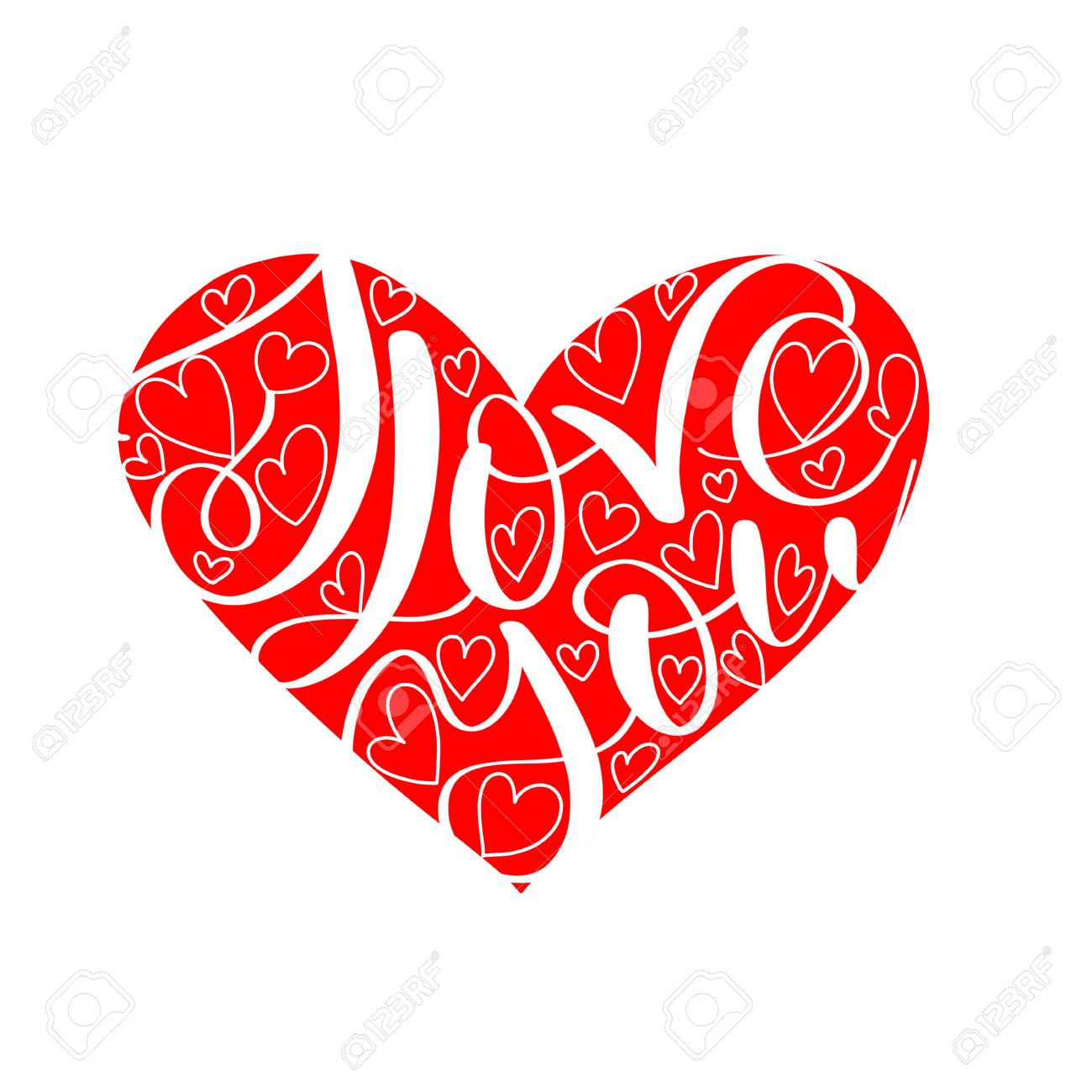 I LOVE you text in red heart shape, Calligraphic love lettering - 93872588