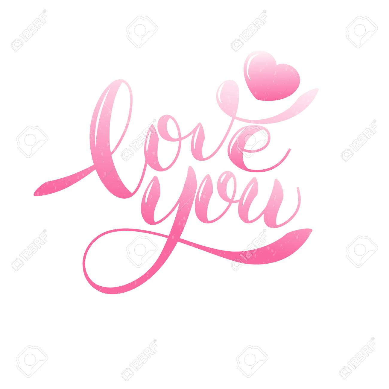I love you romantic text, Calligraphic love lettering - 94204746