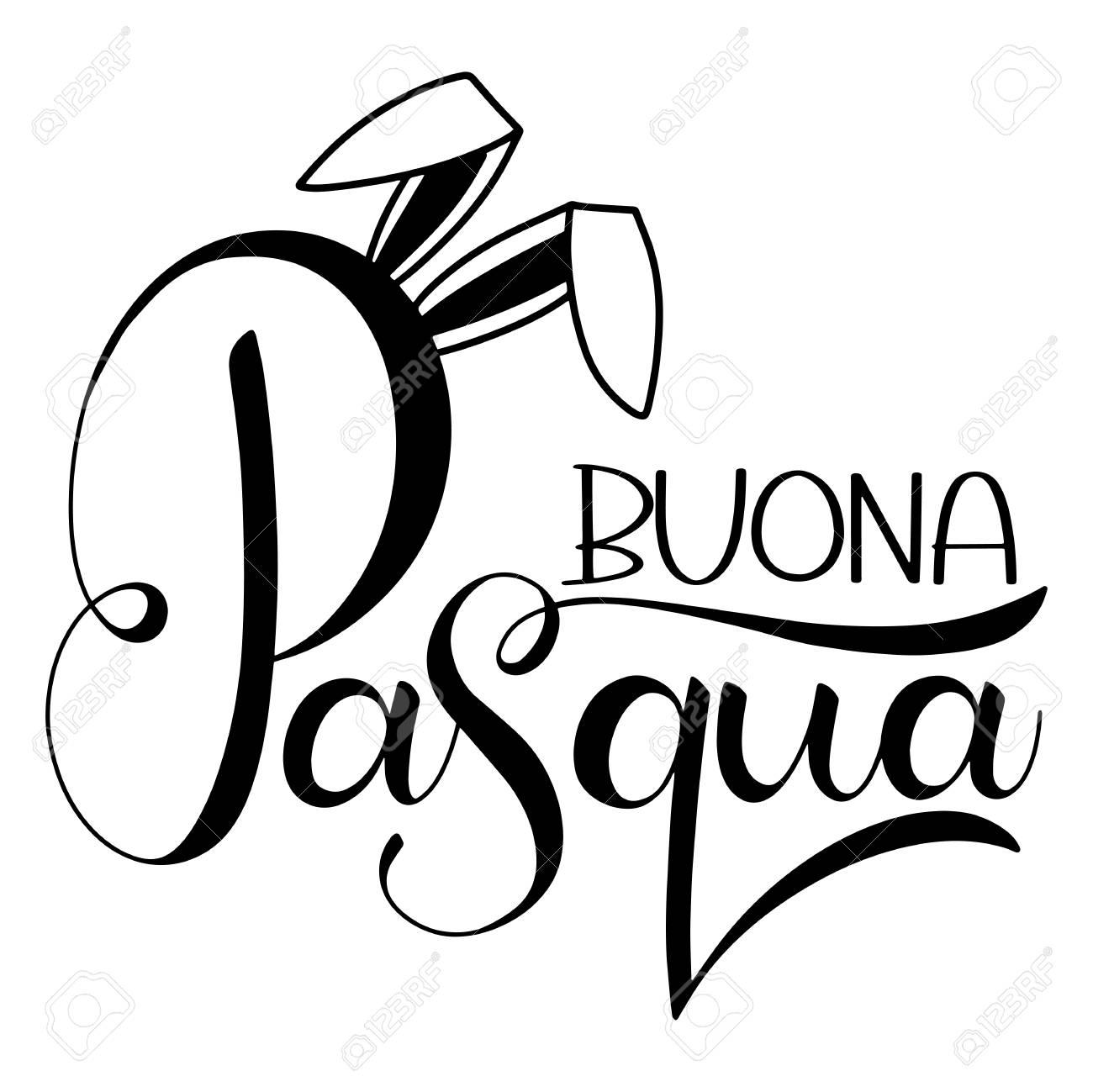Buona Pasqua Lettering Happy Easter Colorful Lettering In Italian