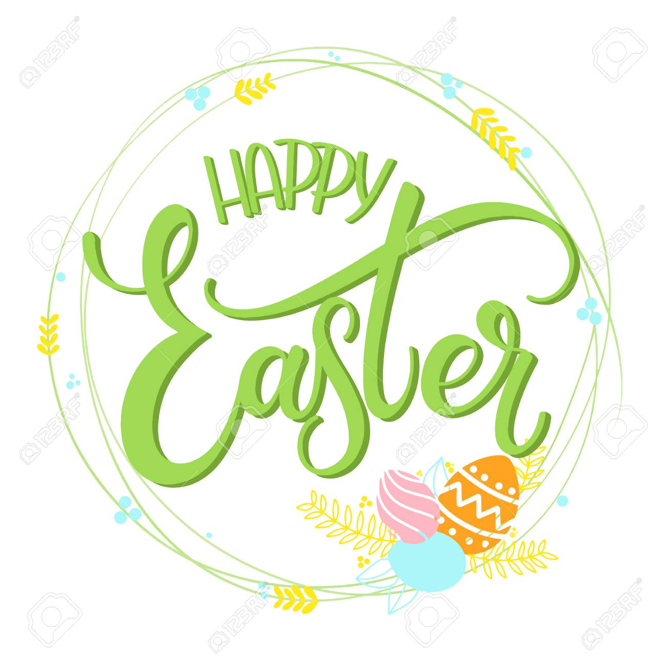 Happy easter colorful lettering hand written easter phrases hand written easter phrases seasons greetings stock vector 96851901 m4hsunfo