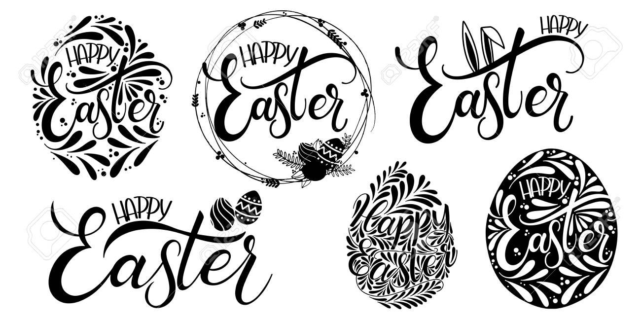 Happy Easter Lettering Set Hand Written Easter Phrases Seasons