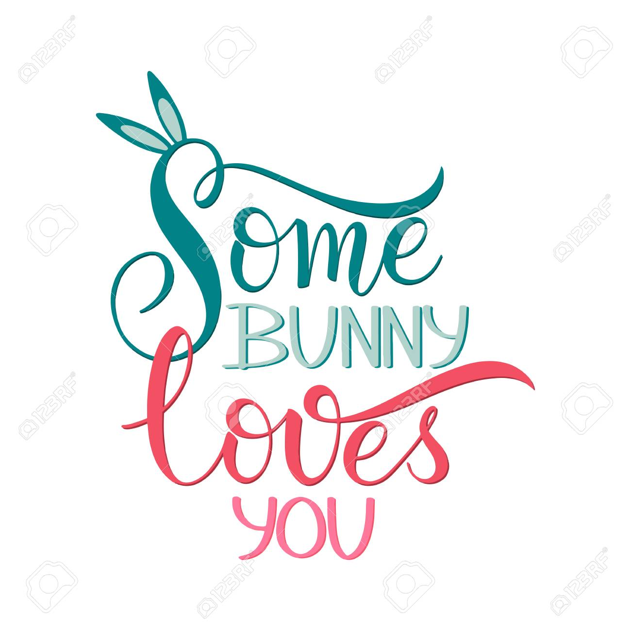 Some bunny loves you lettering hand written easter phrases hand written easter phrases seasons greetings stock vector m4hsunfo