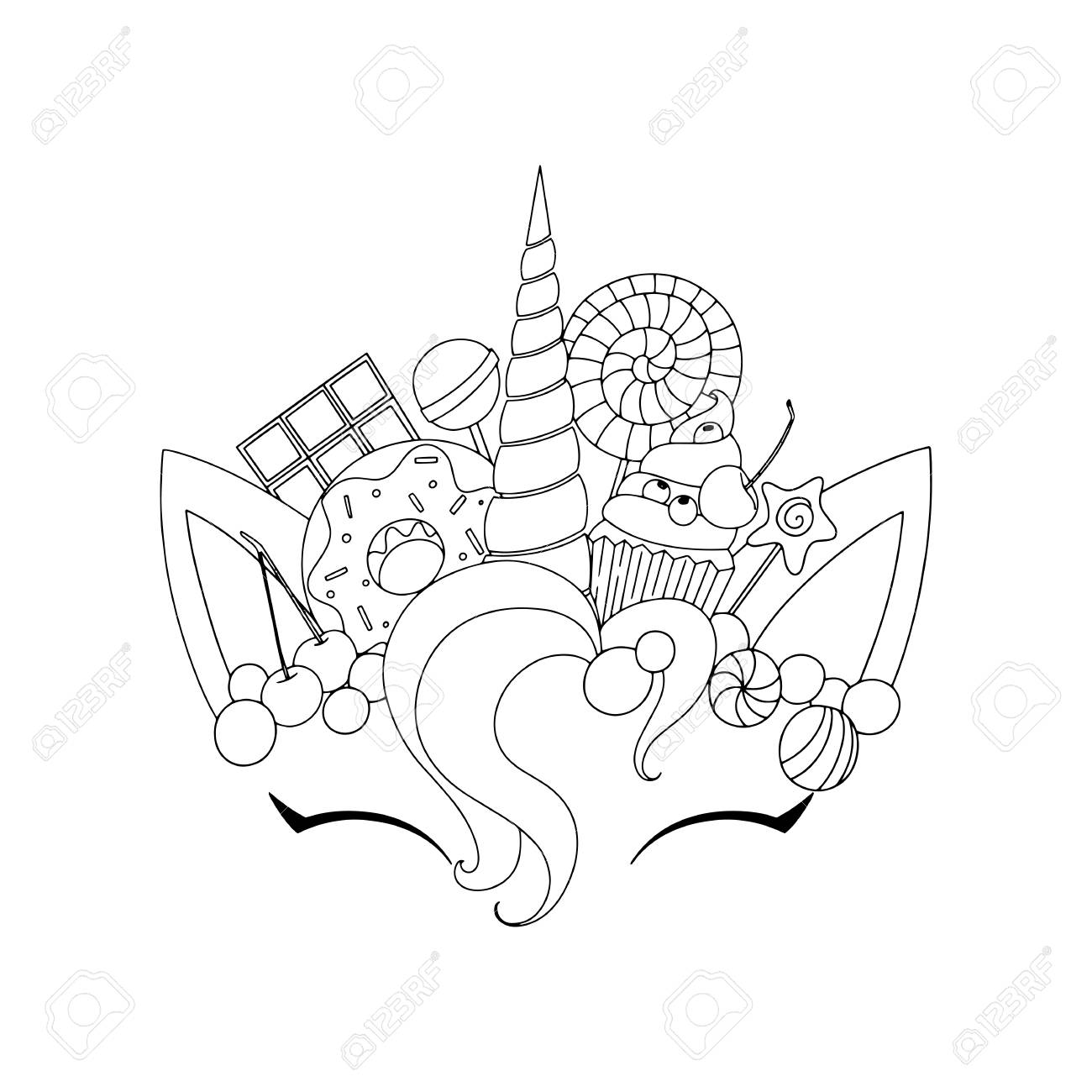 Unicorn cute vector illustration head with candy and cupcake