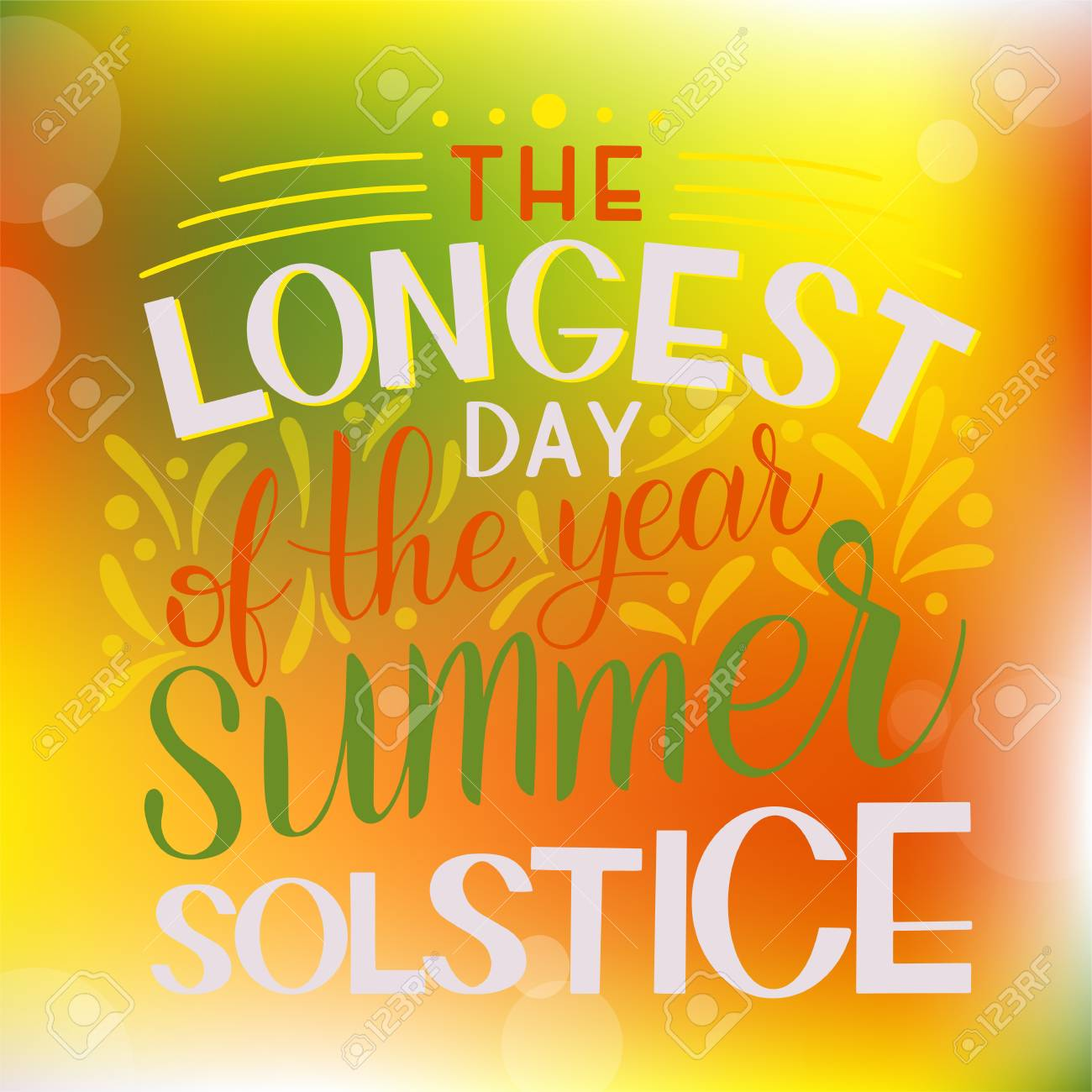 Summer Solstice Lettering. Elements For Invitations, Posters ...
