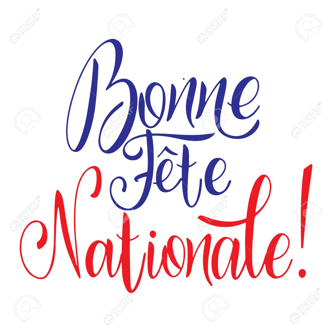 Bastille day hand drawn lettering. Happy National day on French. Bonne Fete Nationale. Vector elements for invitations, posters, greeting cards. T-shirt design - 117031400