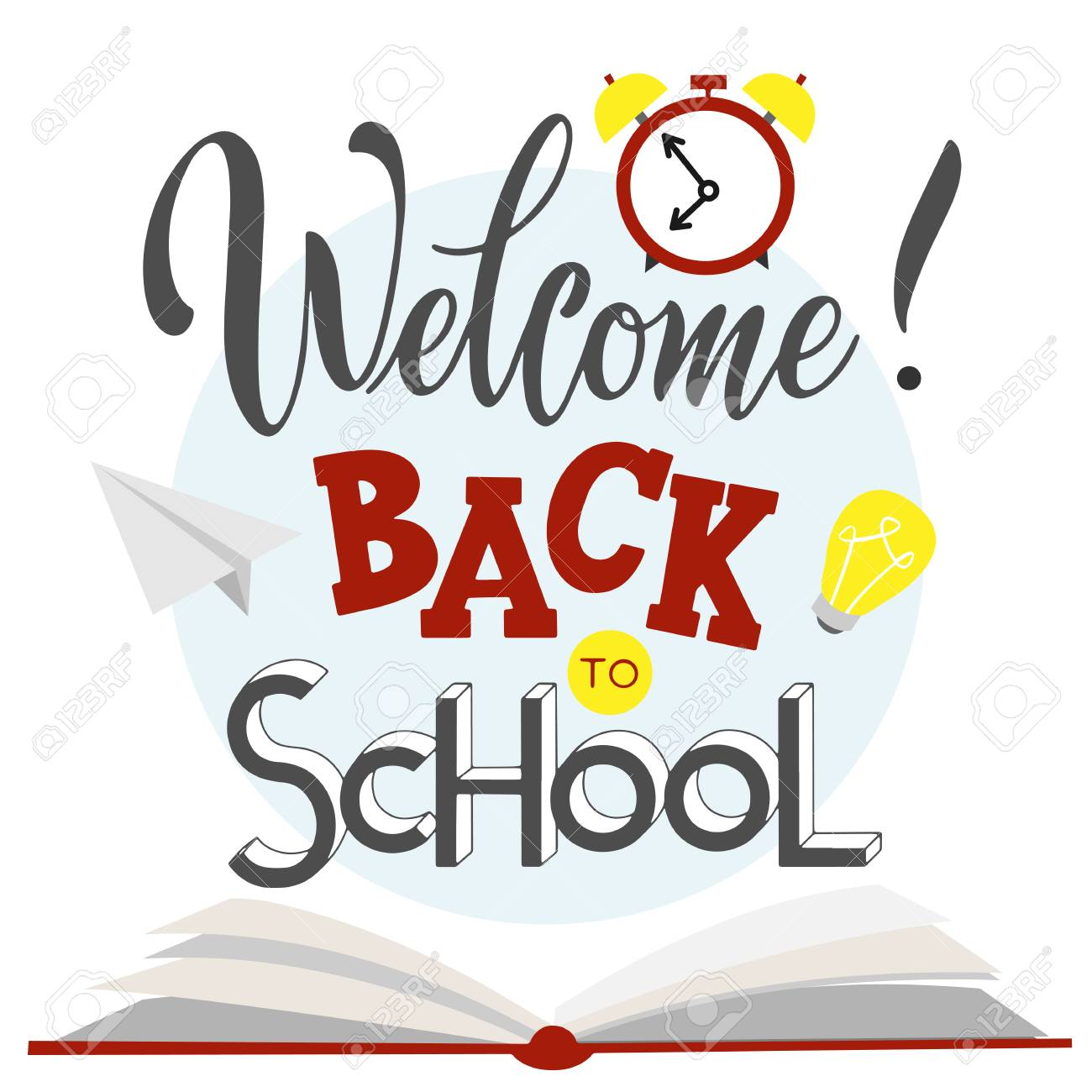 Back to school hand drawn lettering. Elements for greeting card, poster, banners. Notebook and sticker design - 114839220