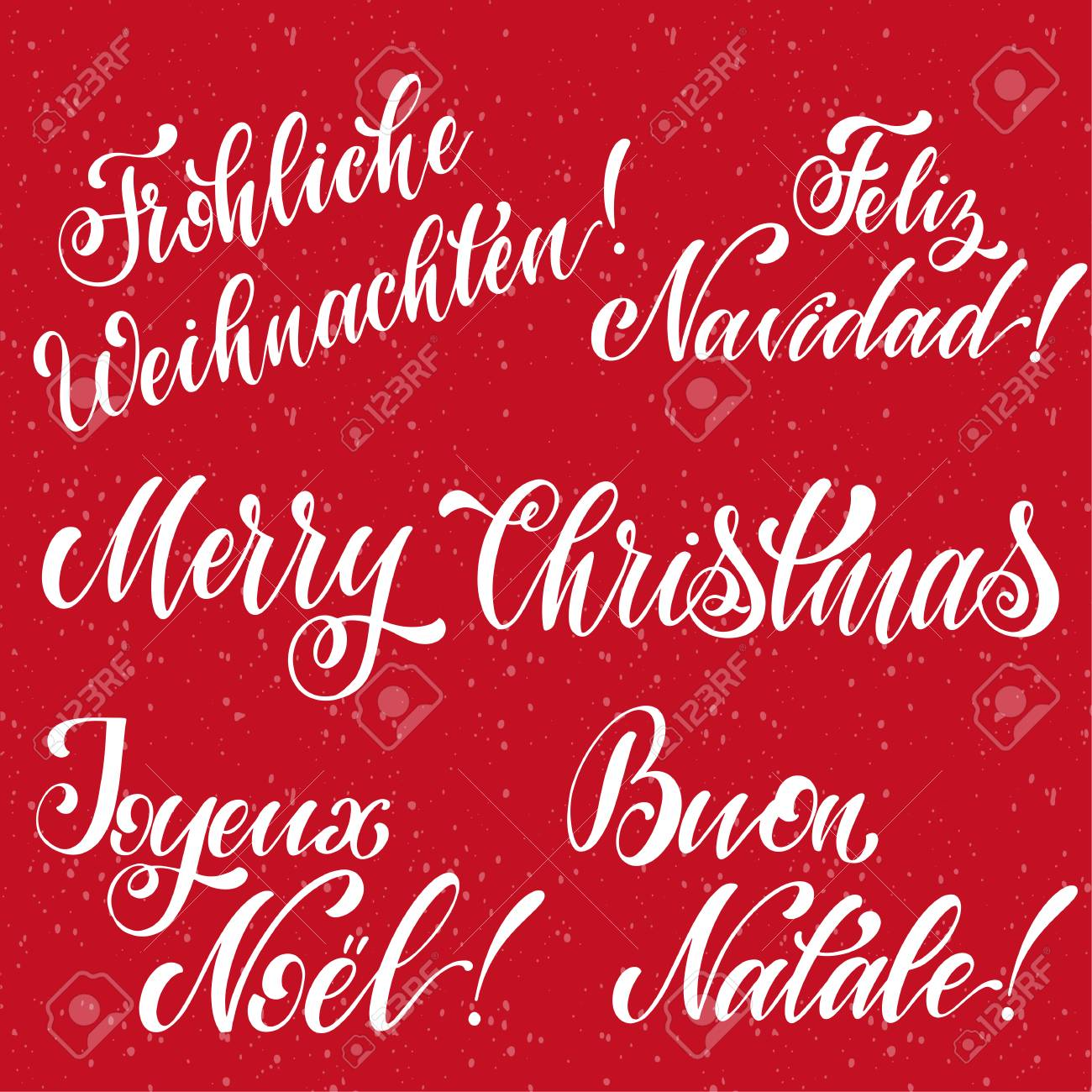 How Do You Say Merry Christmas In German.Merry Christmas Lettering On English French German Spanish